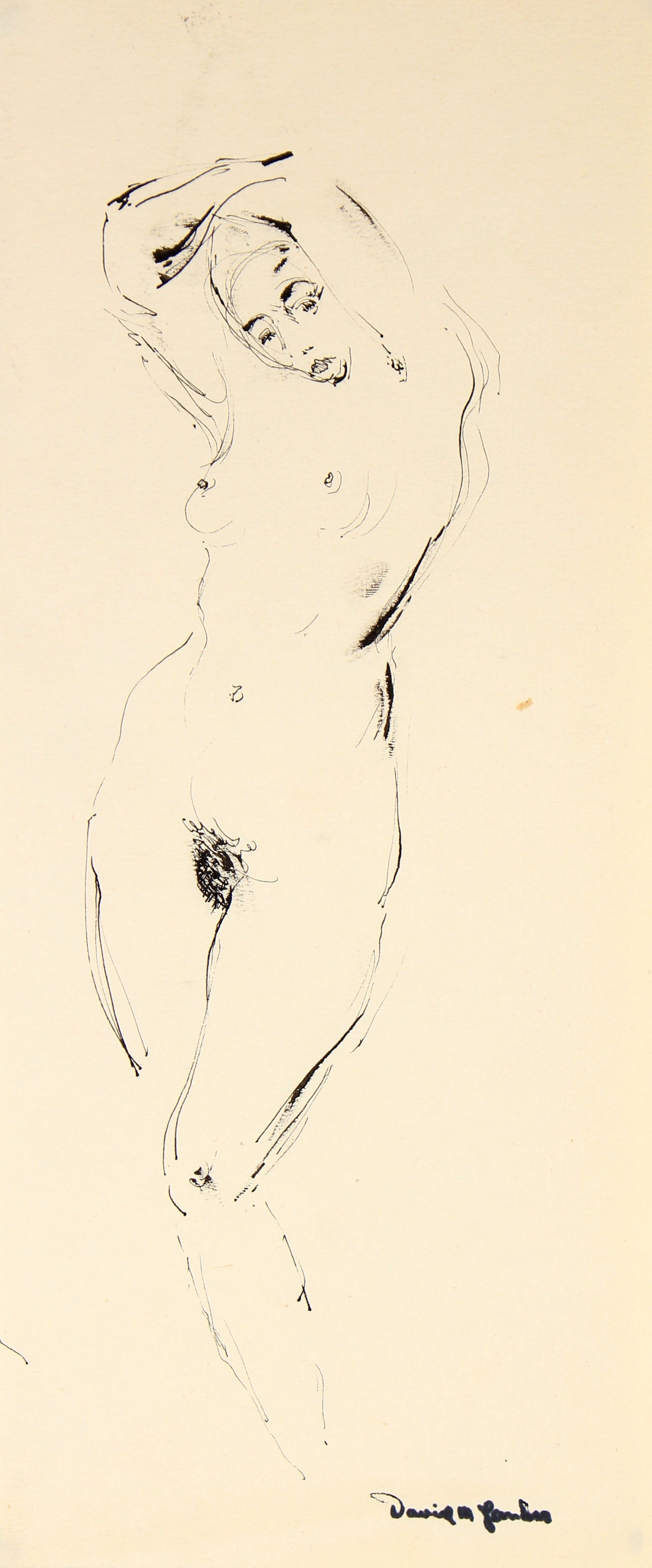 Contrapposto Female Nude<br>Ink, 1948<br><br>#82308