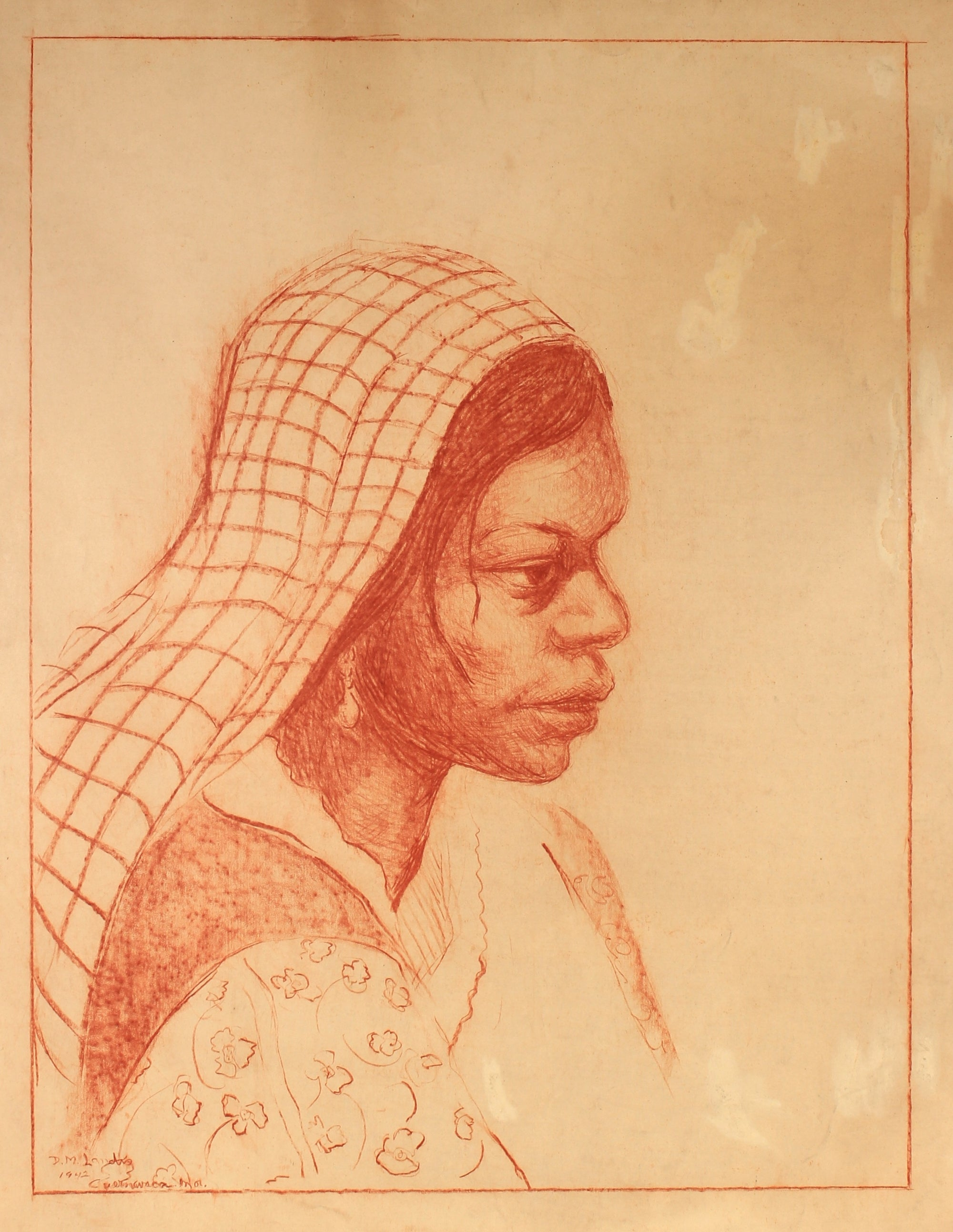 Conte Crayon Study of a Woman<br>1942<br><br>#82316