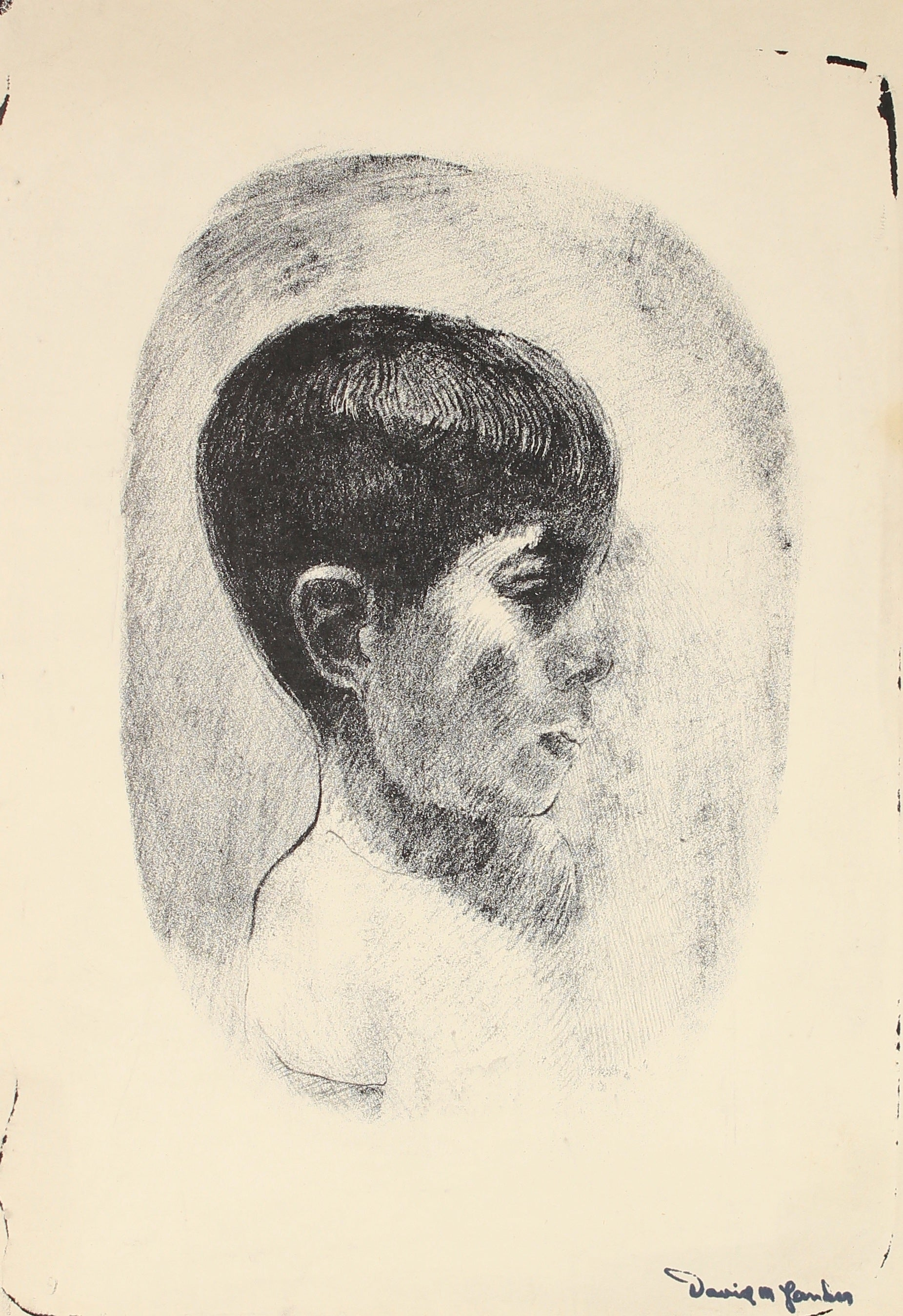 Stone Lithograph of a Boy<br>Mid Century<br><br>#82317