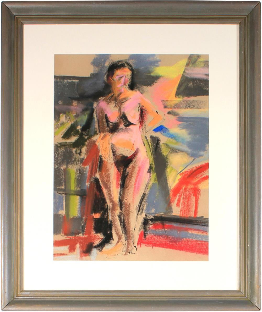 Expressionist Female Nude<br>Mid-Late 20th Century Ink, Charcoal & Pastel<br><br>#61727