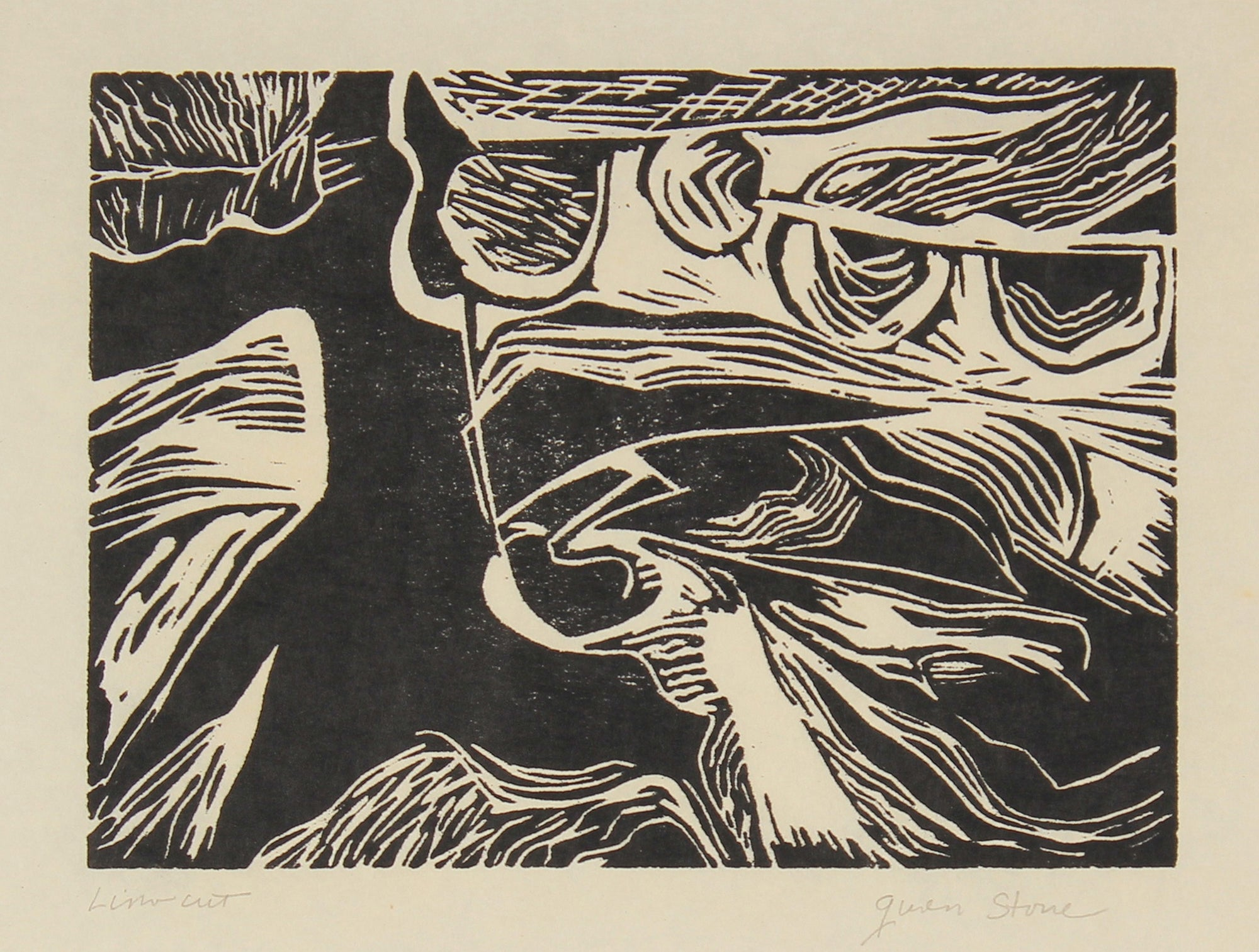 Late 20th Century Abstraction<br>Linocut on Paper<br><br>#82515