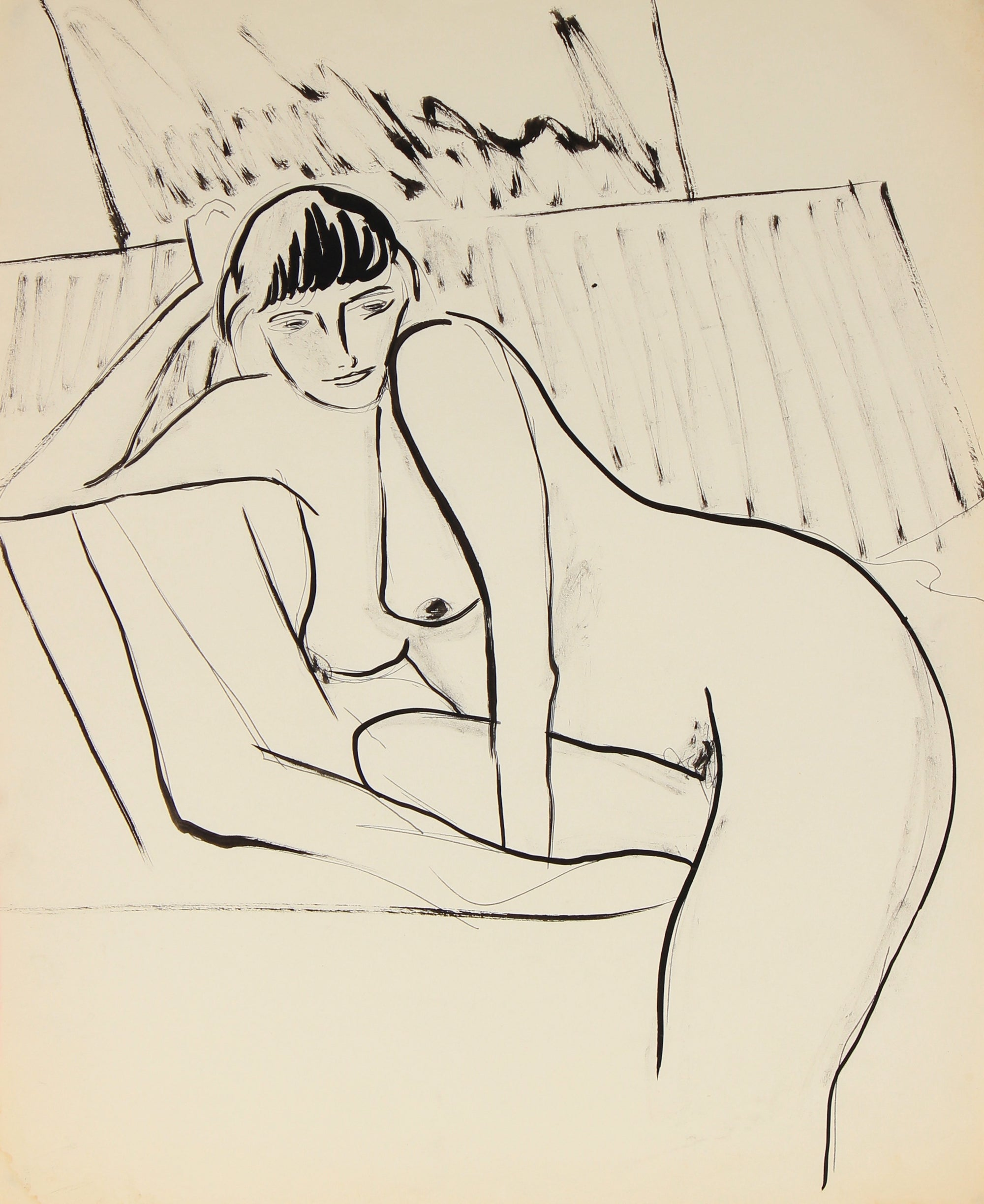 Coy Female Nude<br>Ink on Paper, Late 20th Century<br><br>#82526