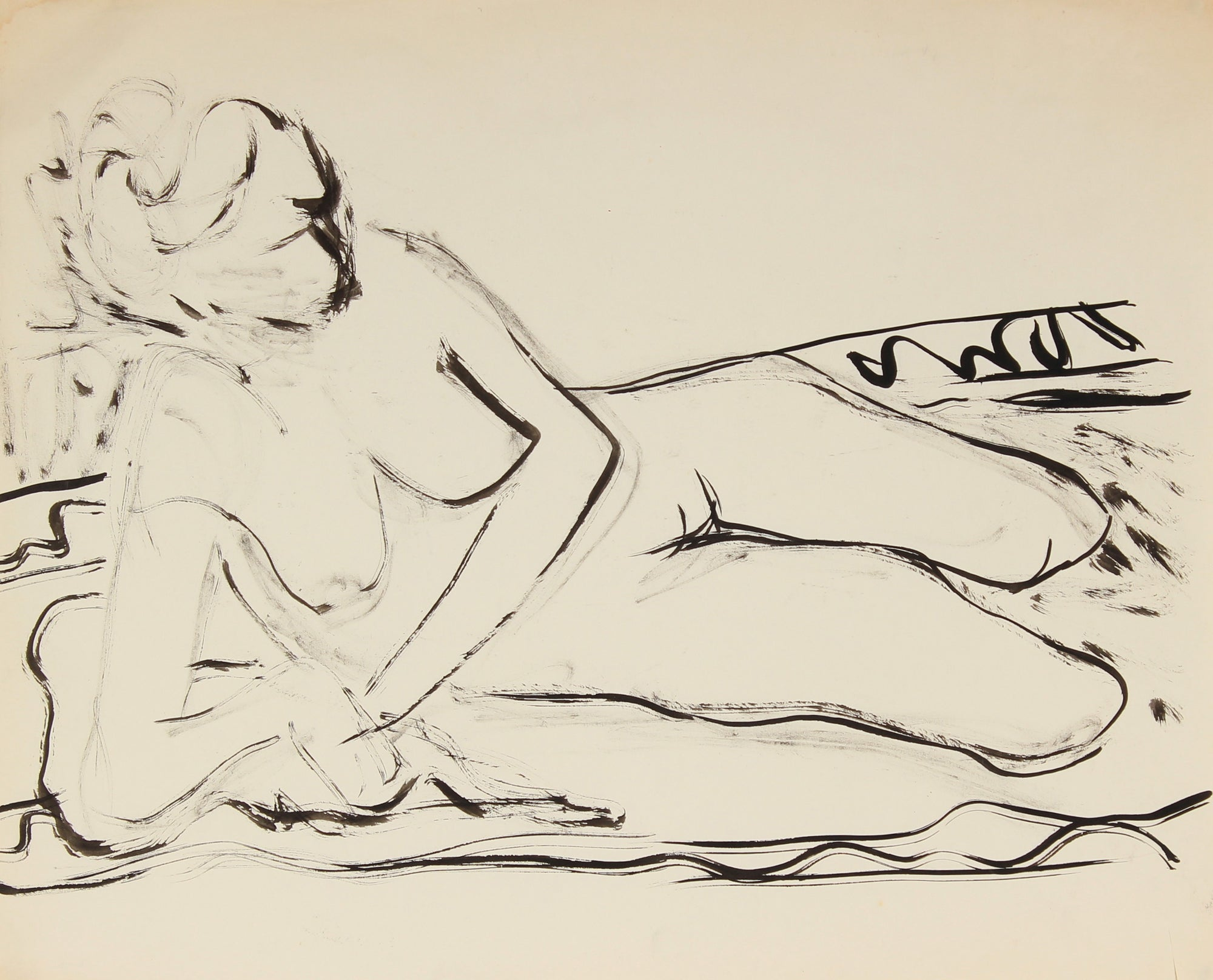 Nude in Repose<br>Ink on Paper, Late 20th Century<br><br>#82527