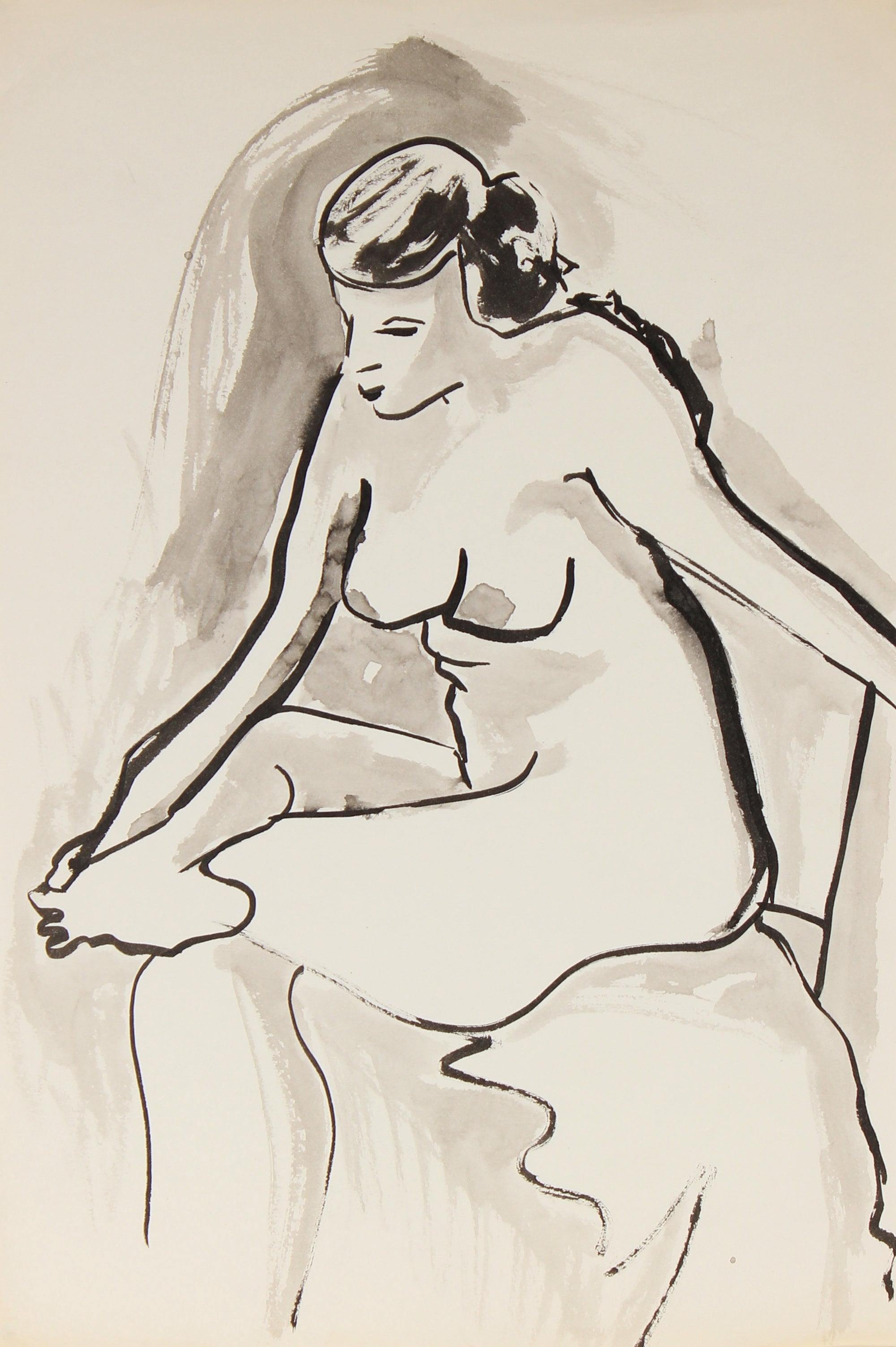 Seated Ink Nude<br>Mid-Late 20th Century<br><br>#82532