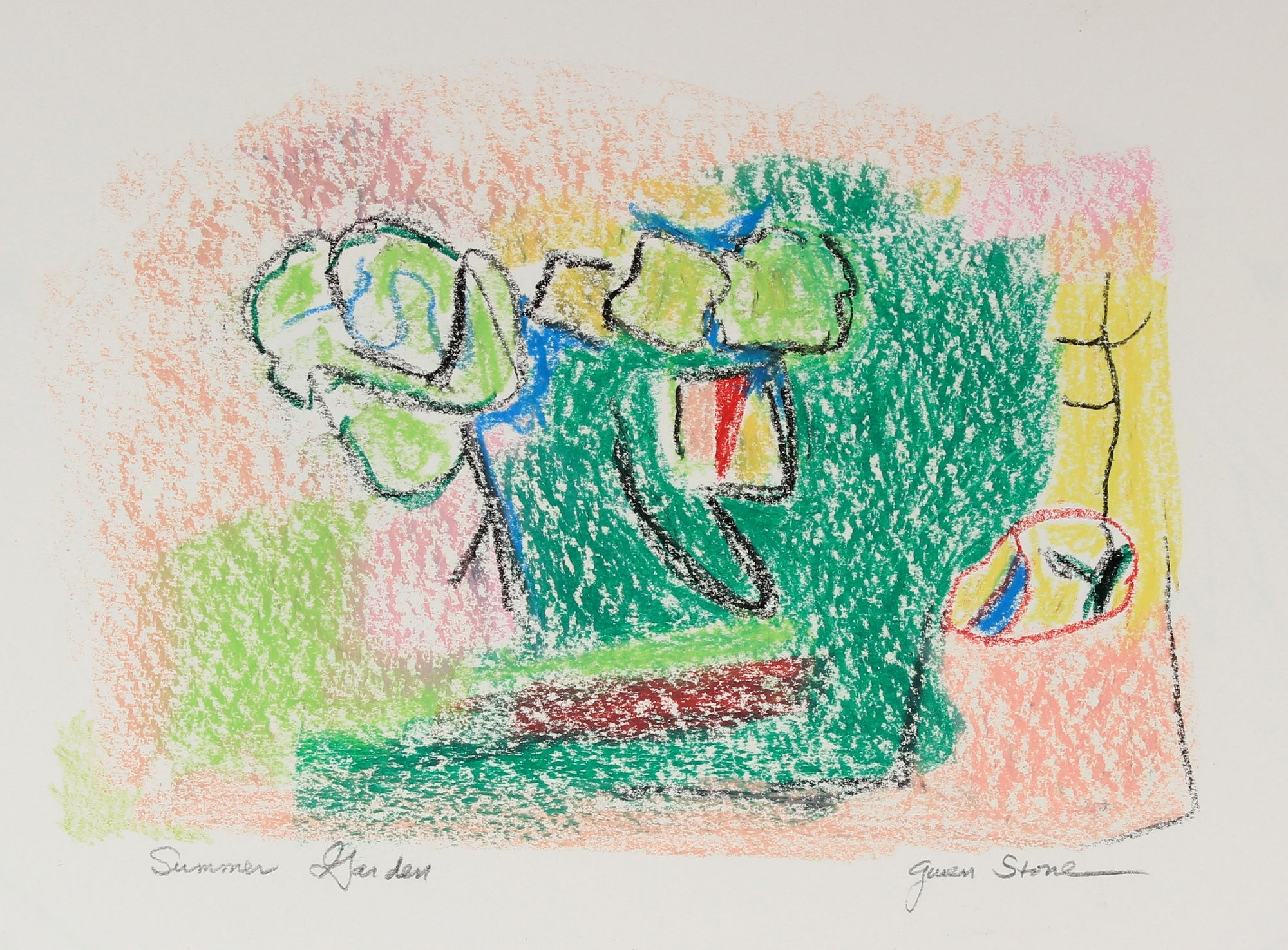 <i>Summer Garden</i><br>Late 20th Century Oil Pastel<br><br>#82552