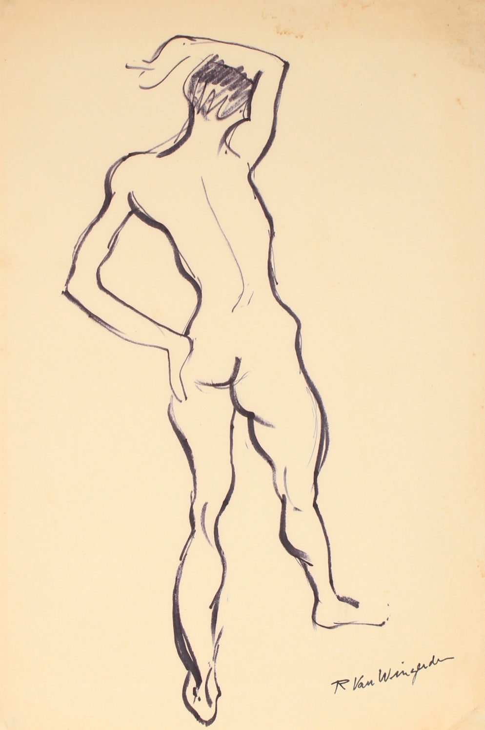 Expressionist Standing Nude<br>1940-60s Ink<br><br>#4593
