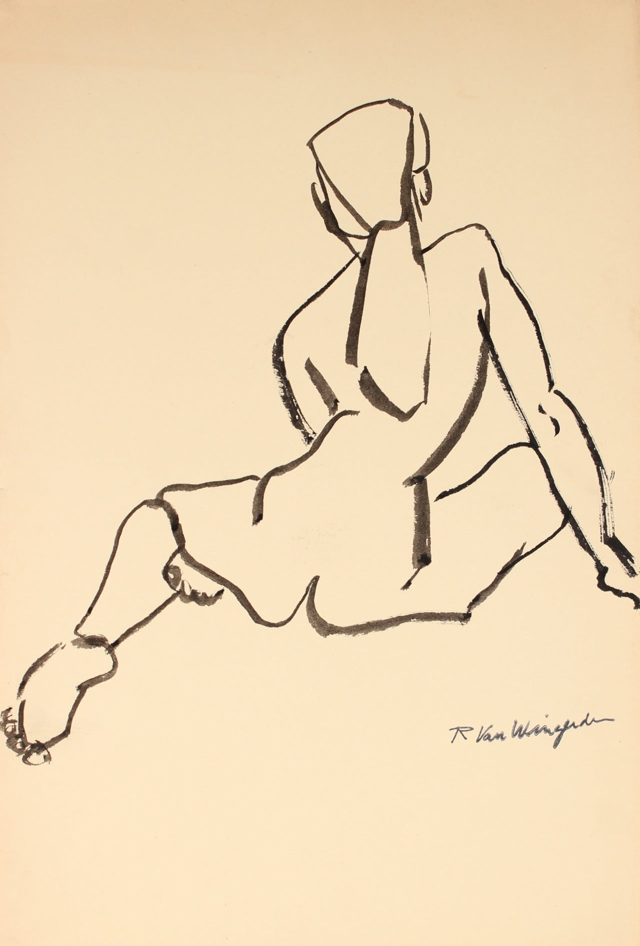 Expressionist Seated Female Nude<br>1940-60s Ink<br><br>#4499