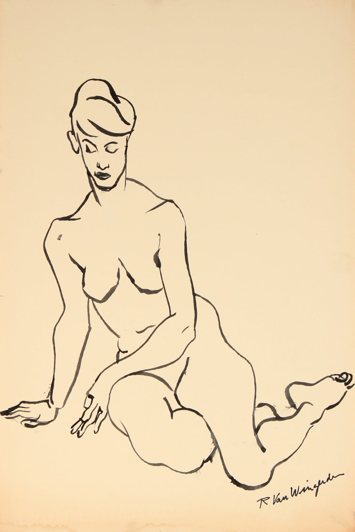 Expressionist Nude in Repose<br>1940-60s Ink<br><br>#4468