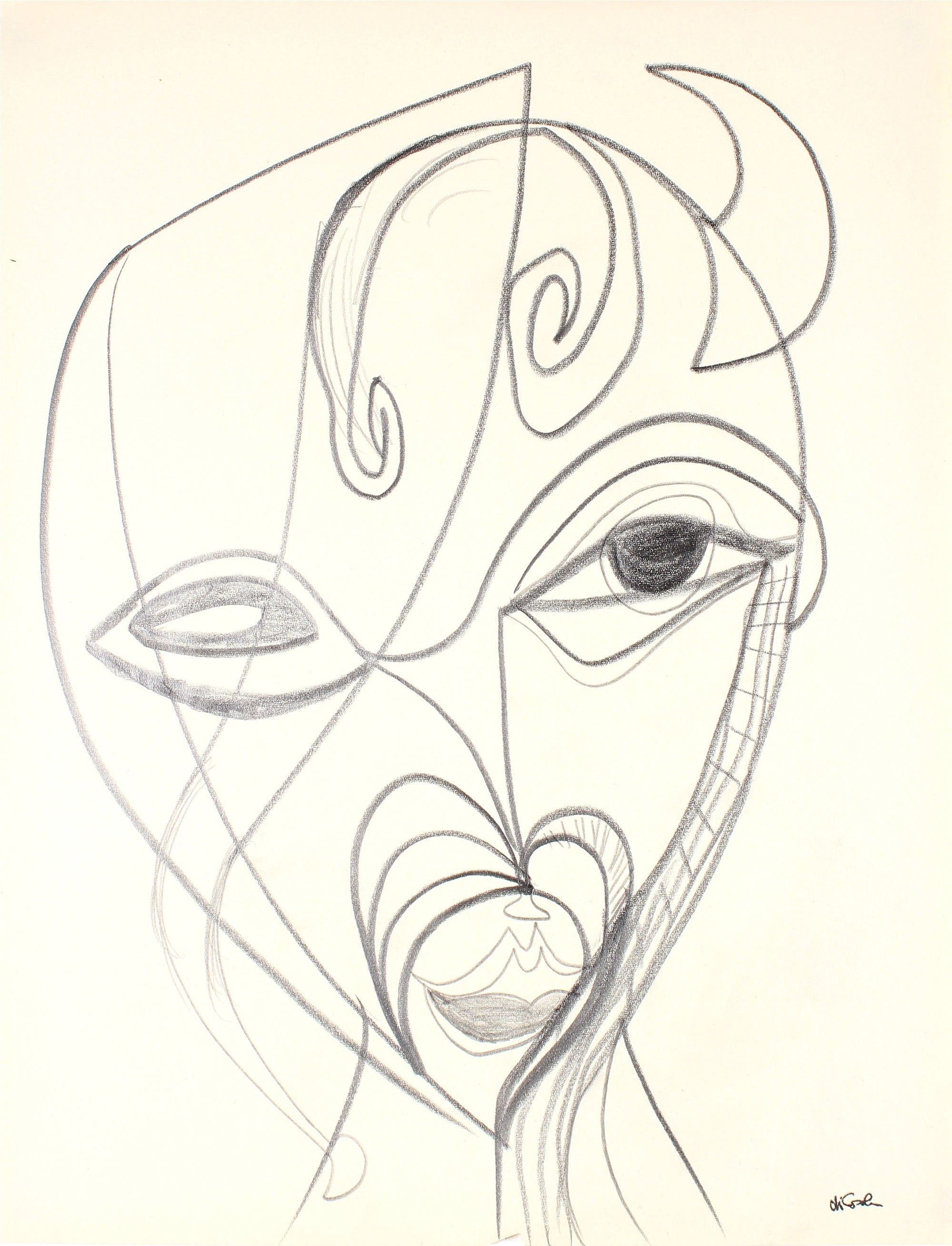 Surreal Abstracted Face<br>Late 20th Century Graphite<br><br>#83400