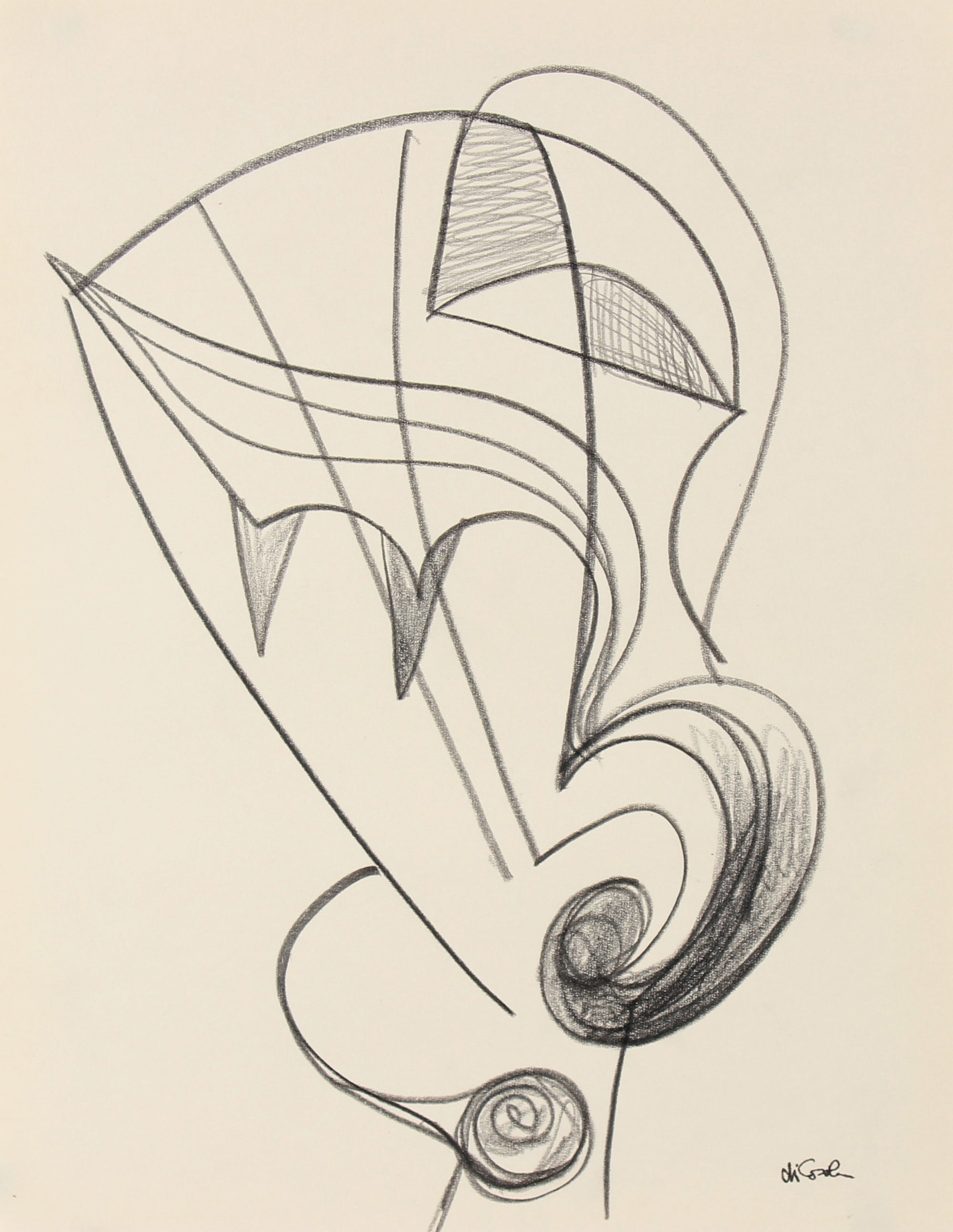 Undulating Surreal Abstract <br>Late 20th Century Graphite <br><br>#83784