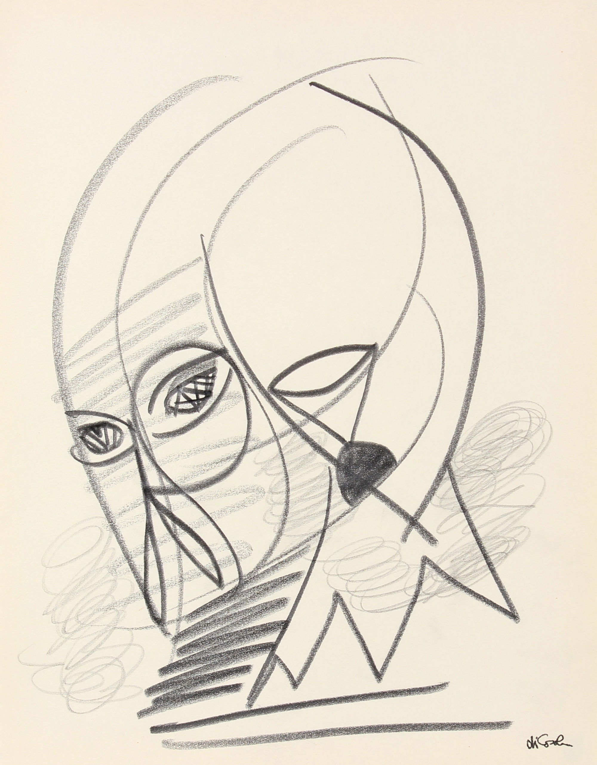 Abstract Figurative Study <br>Late 20th Century Graphite <br><br>#83807