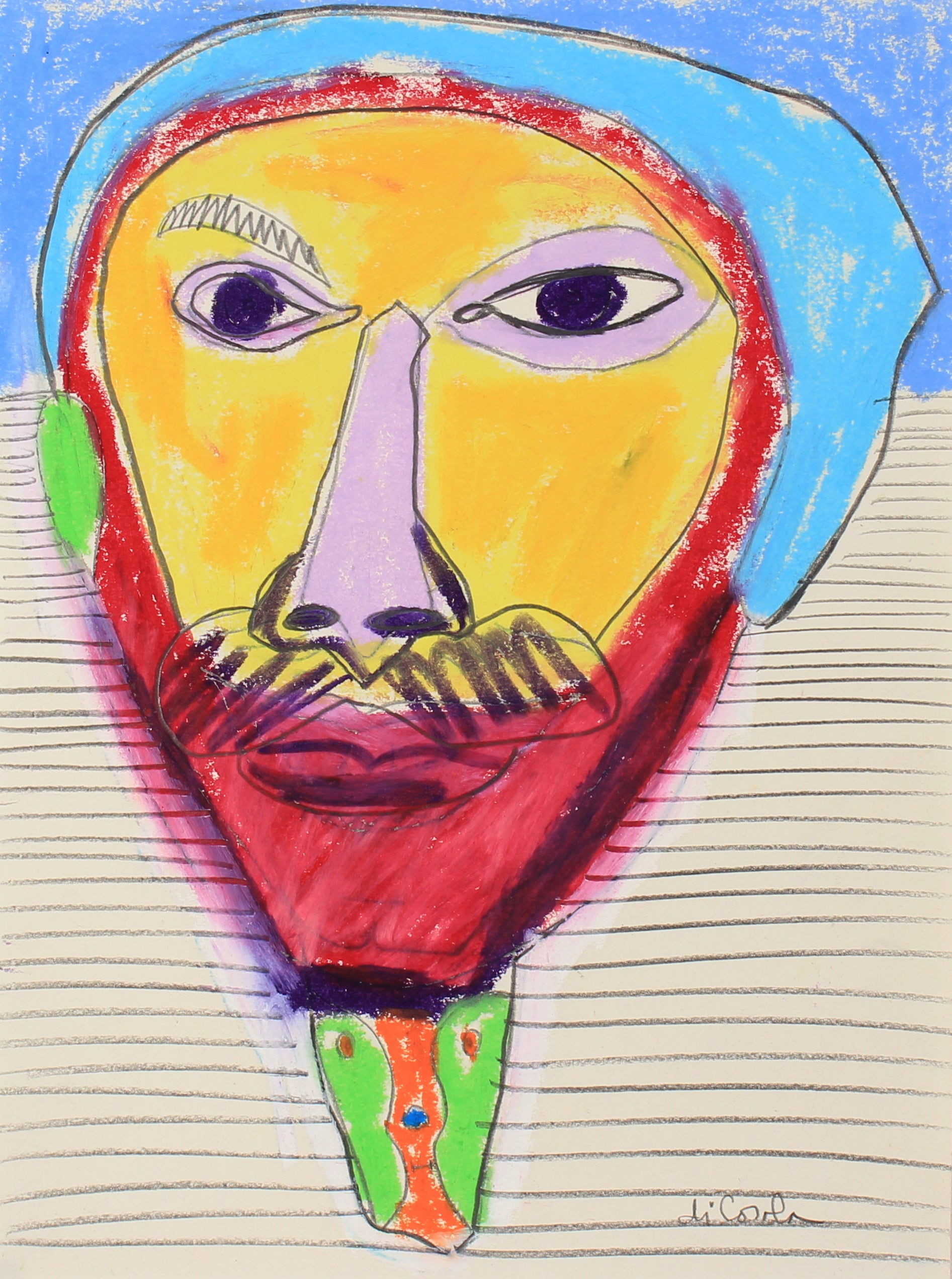 A Portrait In Many Colors <br>20th Century Pastel & Graphite <br><br>#83825