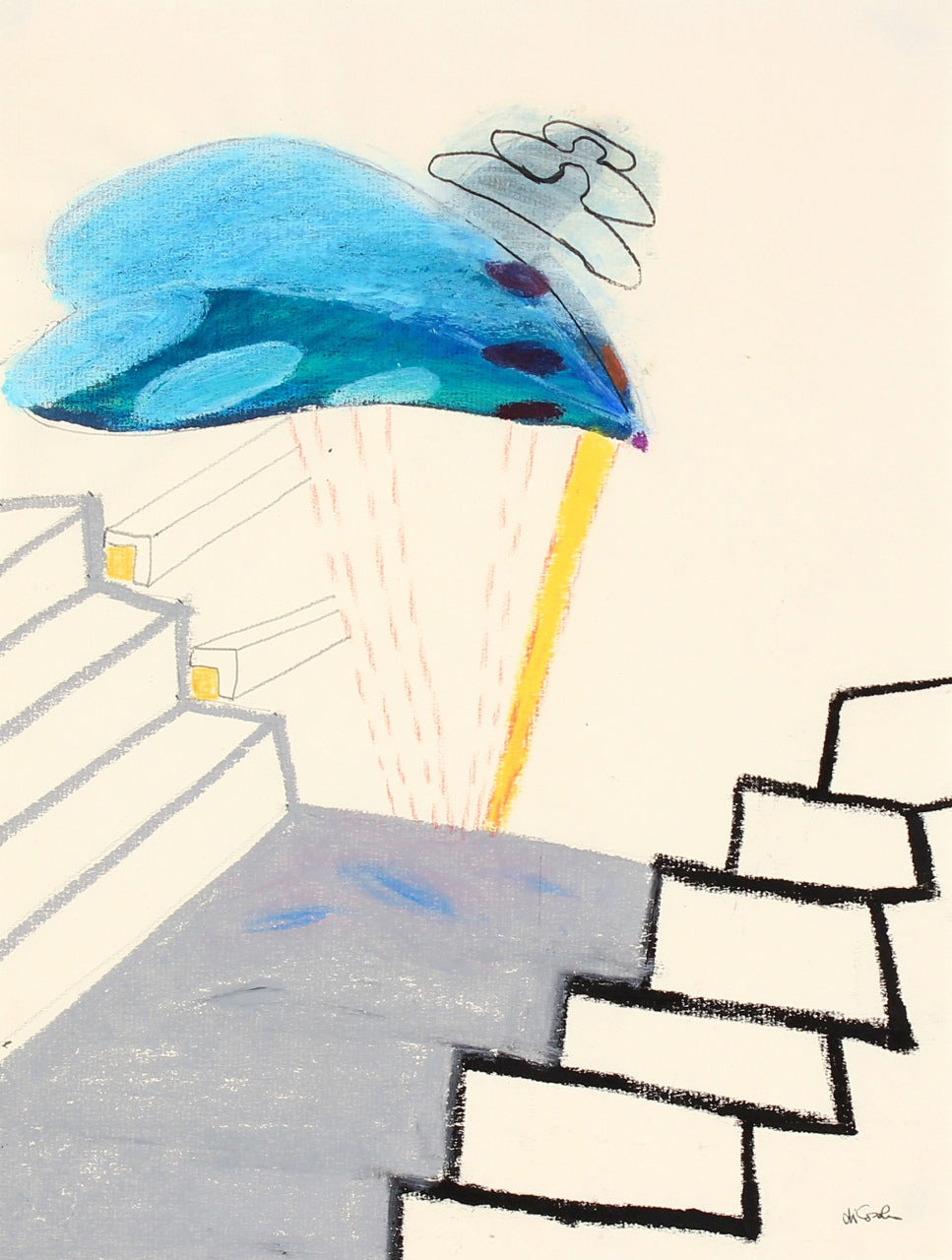 Surreal Staircase View <br>20th Century Pastel <br><br>#83907