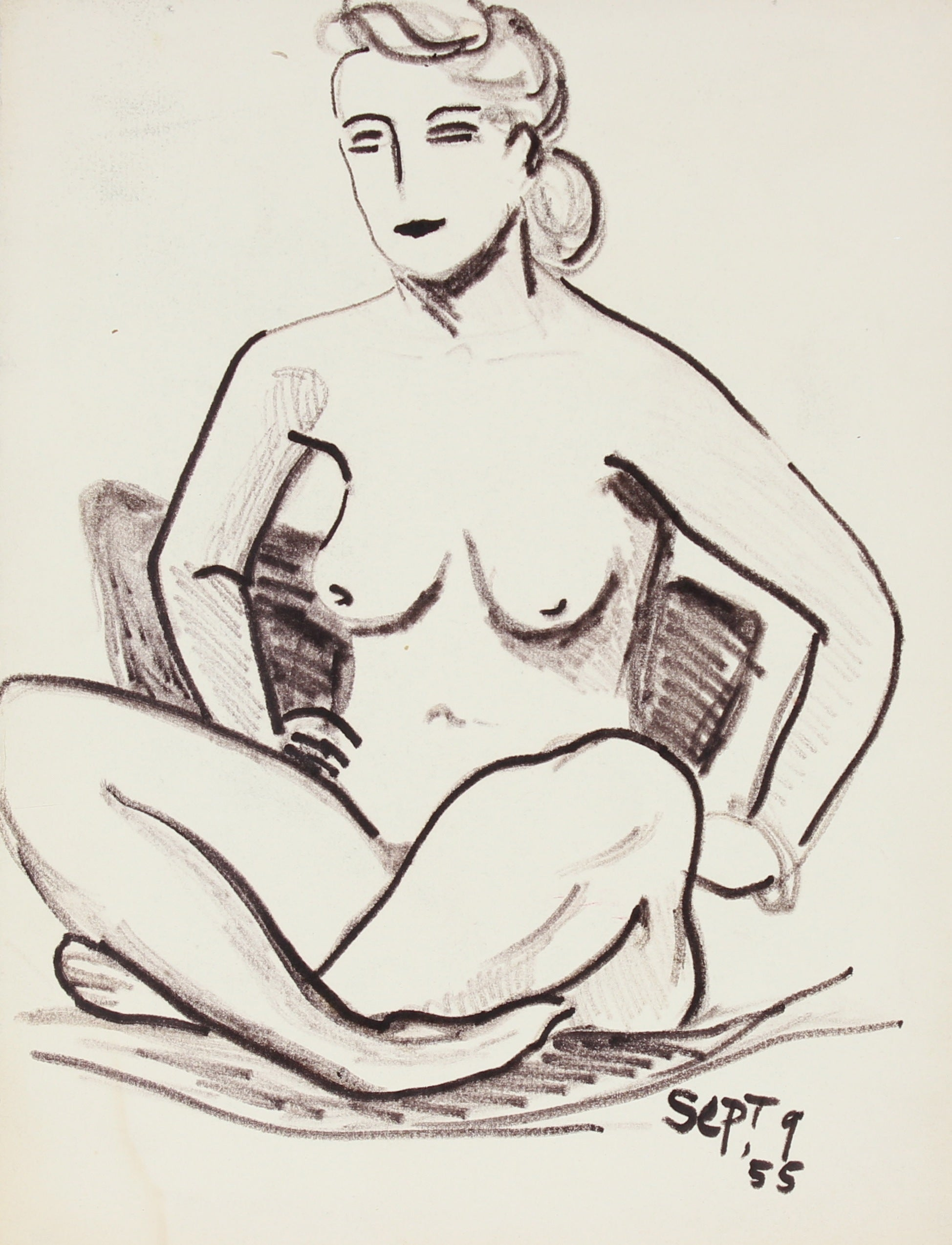 Bold Seated Nude<br>Ink, 1955<br><br>#84635
