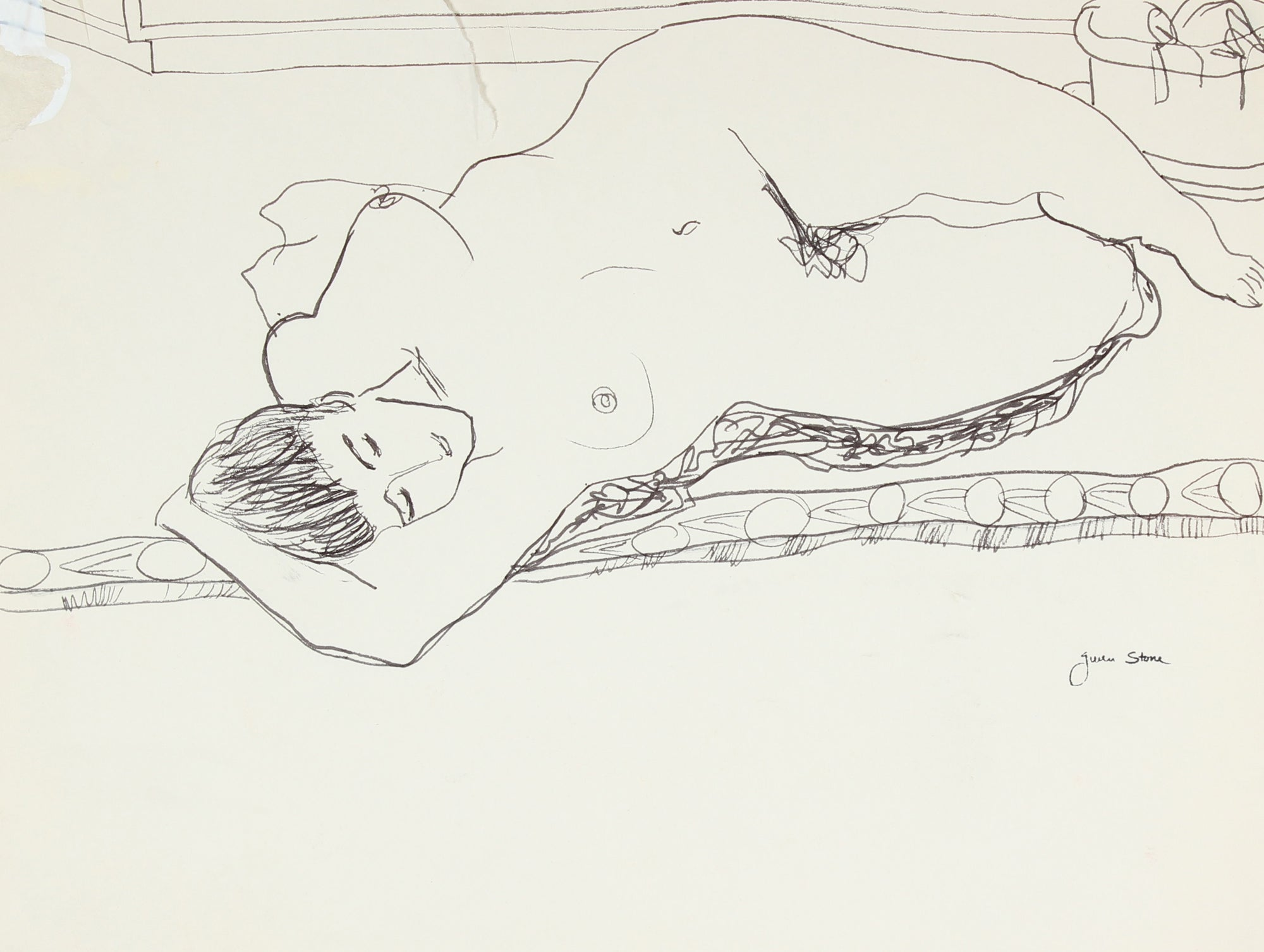 Female Nude Laying <br>Late 20th Century Ink<br><br>#84641
