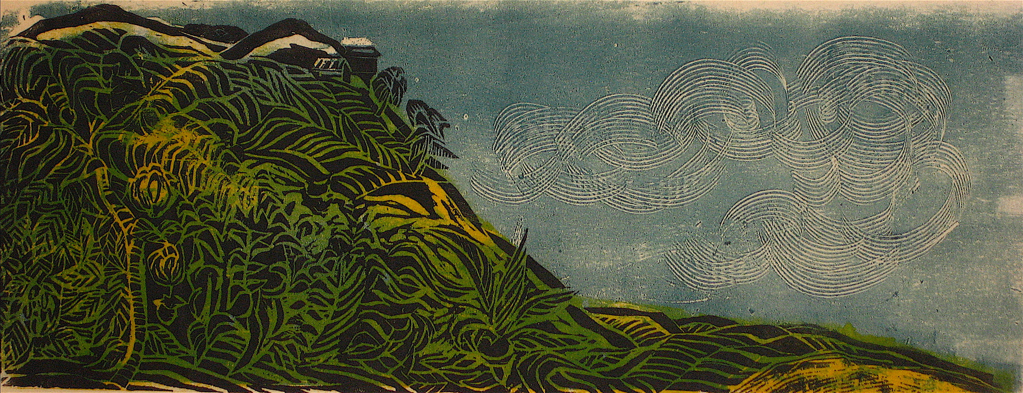 Rolling Hills In Wind<br>1960s Woodcut<br><br>#8591