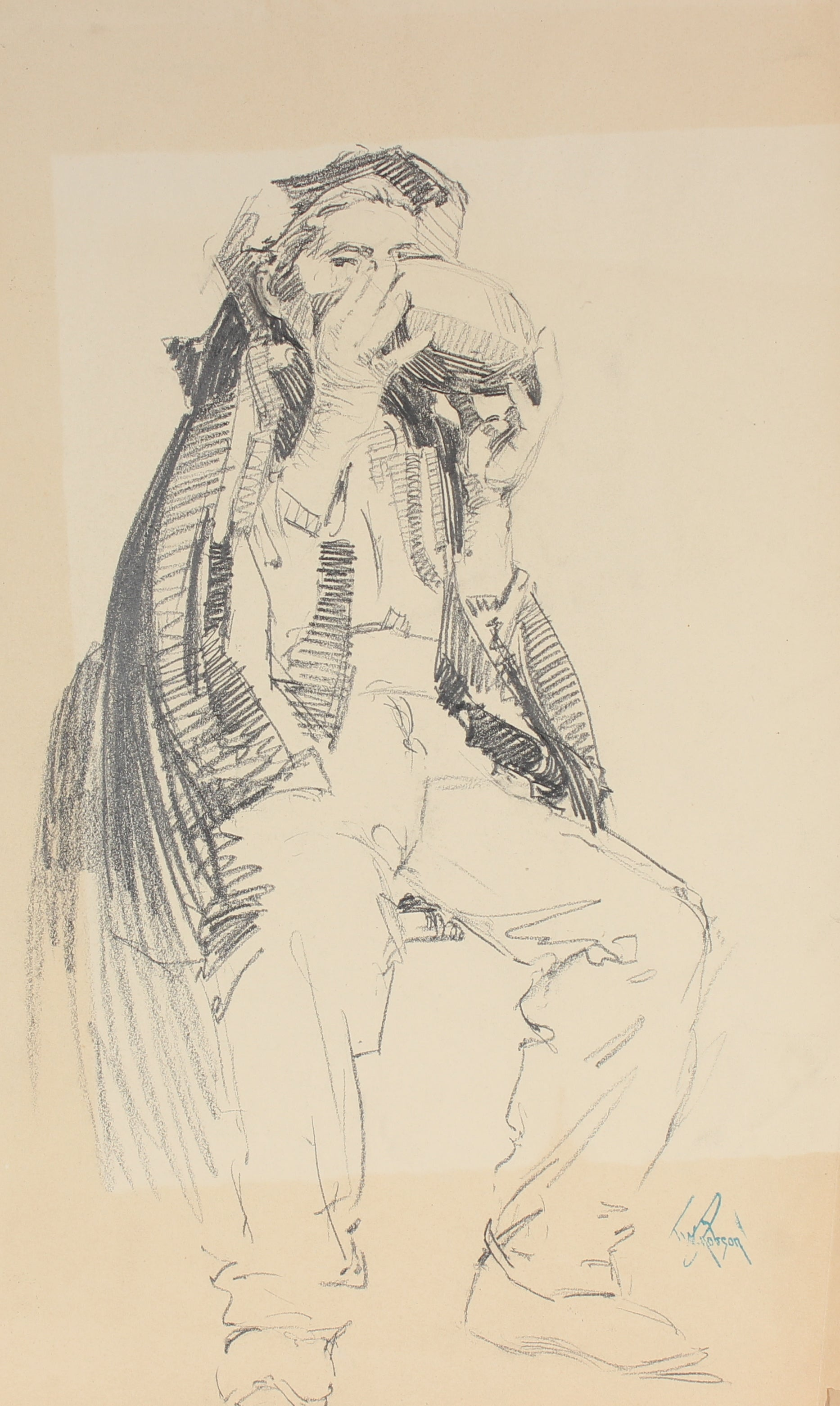 Study of a Parisian Man<br>Charcoal 1905-09<br><br>#5016