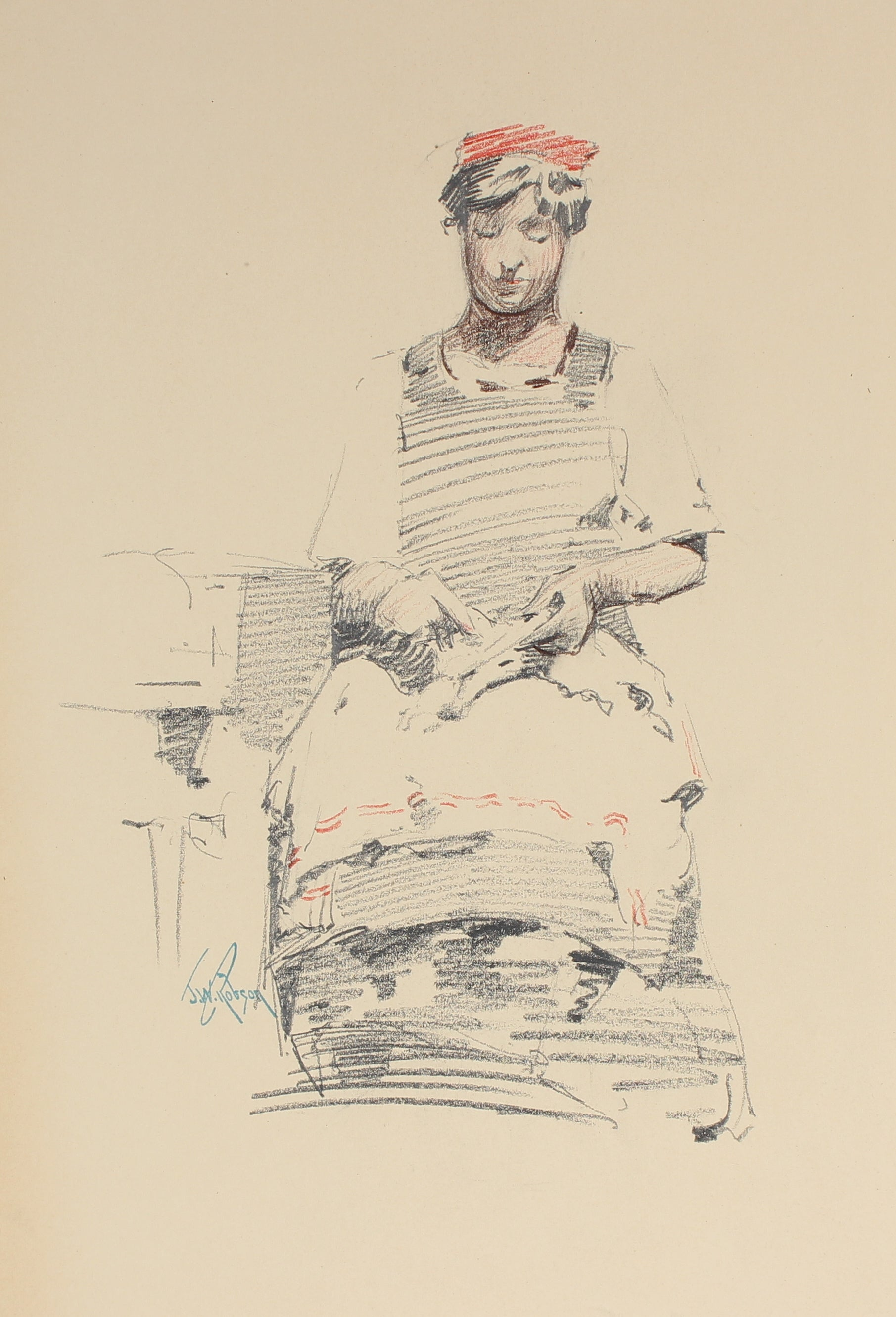 Seated Parisian Woman<br>Charcoal, 1905<br><br>#4995
