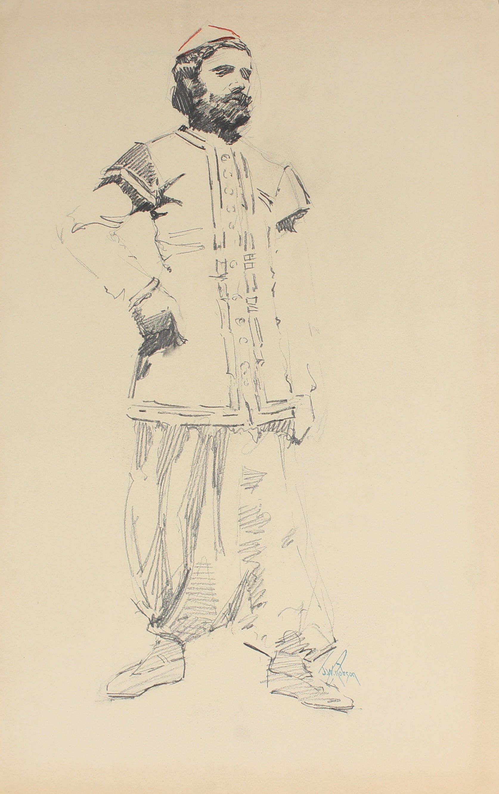 Standing Male Figure, Paris<br>Charcoal, 1905-09<br><br>#5006
