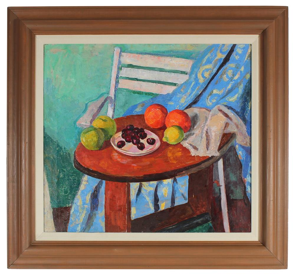 Colorful Modernist Fruit Still Life<br>Mid Century Oil<br><br>#86129
