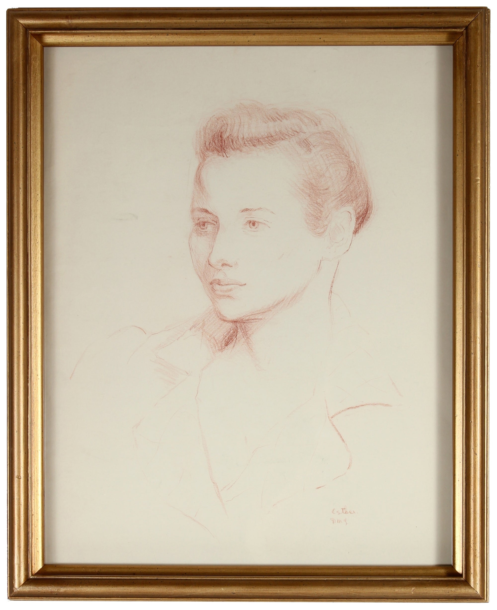 <i>Portrait of Esther Landis</i><br>Mid Century Conte Crayon<br><br>#86154