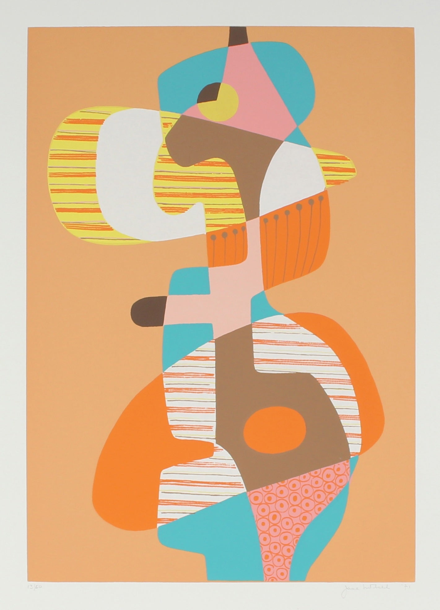1971 Cubist Abstract Serigraph<br><br>#86315