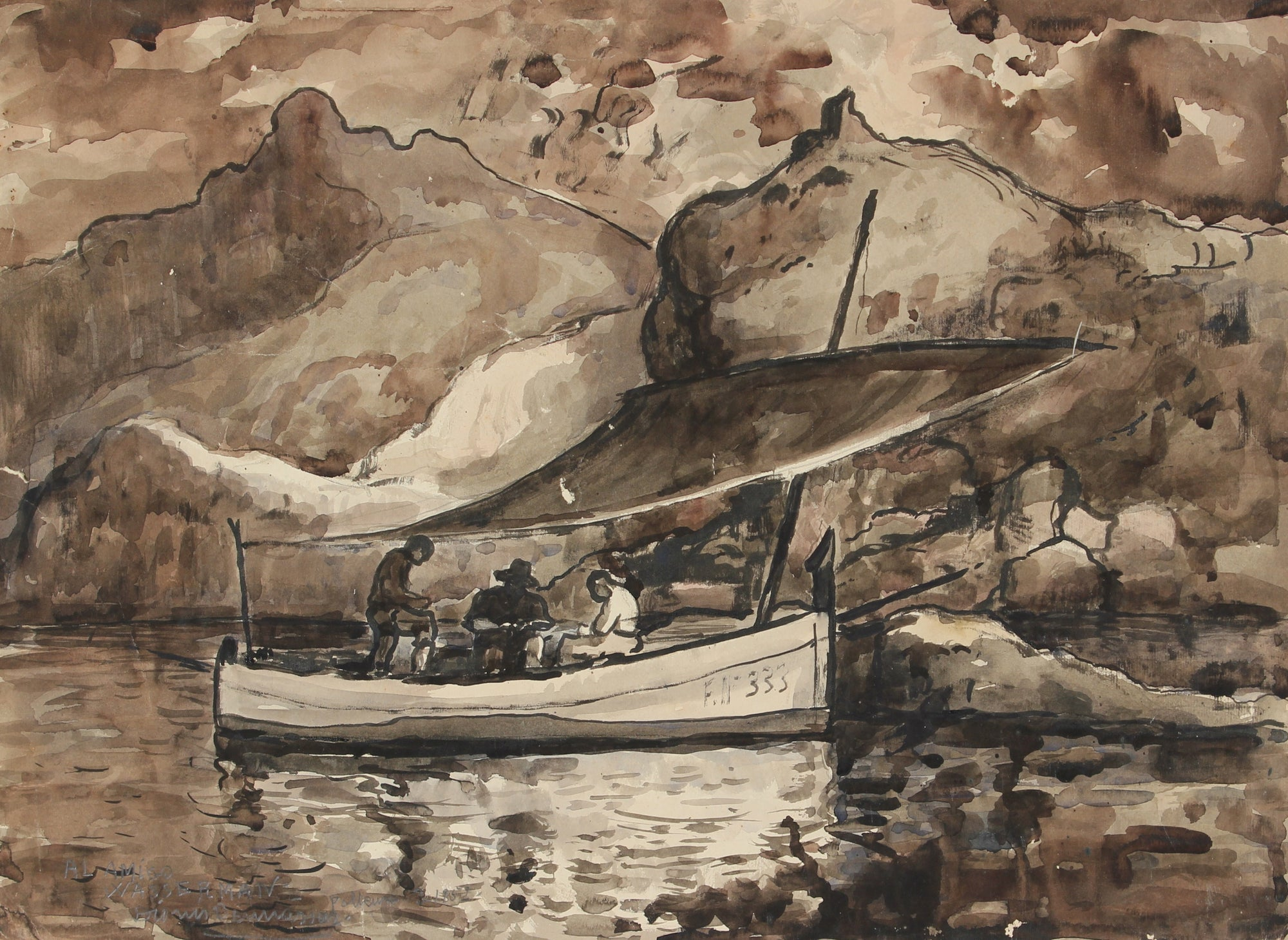 Mexico Seascape <br>March 1952 Ink Wash on Paper <br><br>#86559
