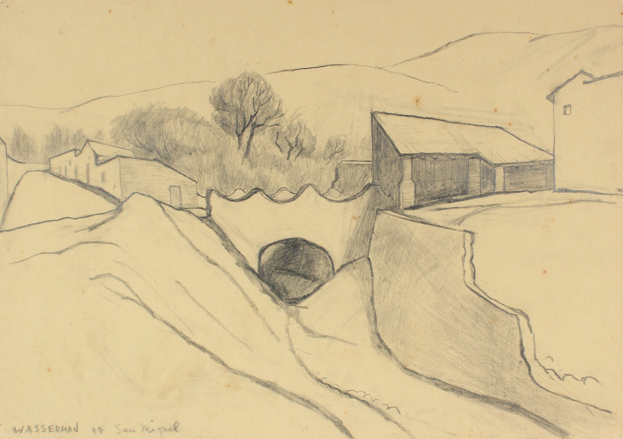 Minimalist Mexican Landscape Drawing <br>1947 Graphite on Paper <br><br>#86566