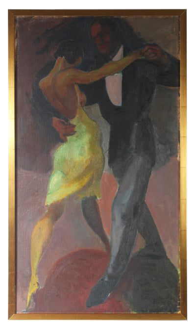 <i>Black Dancing Couple</i><br>Mid Century Oil Scene<br><br>#87545