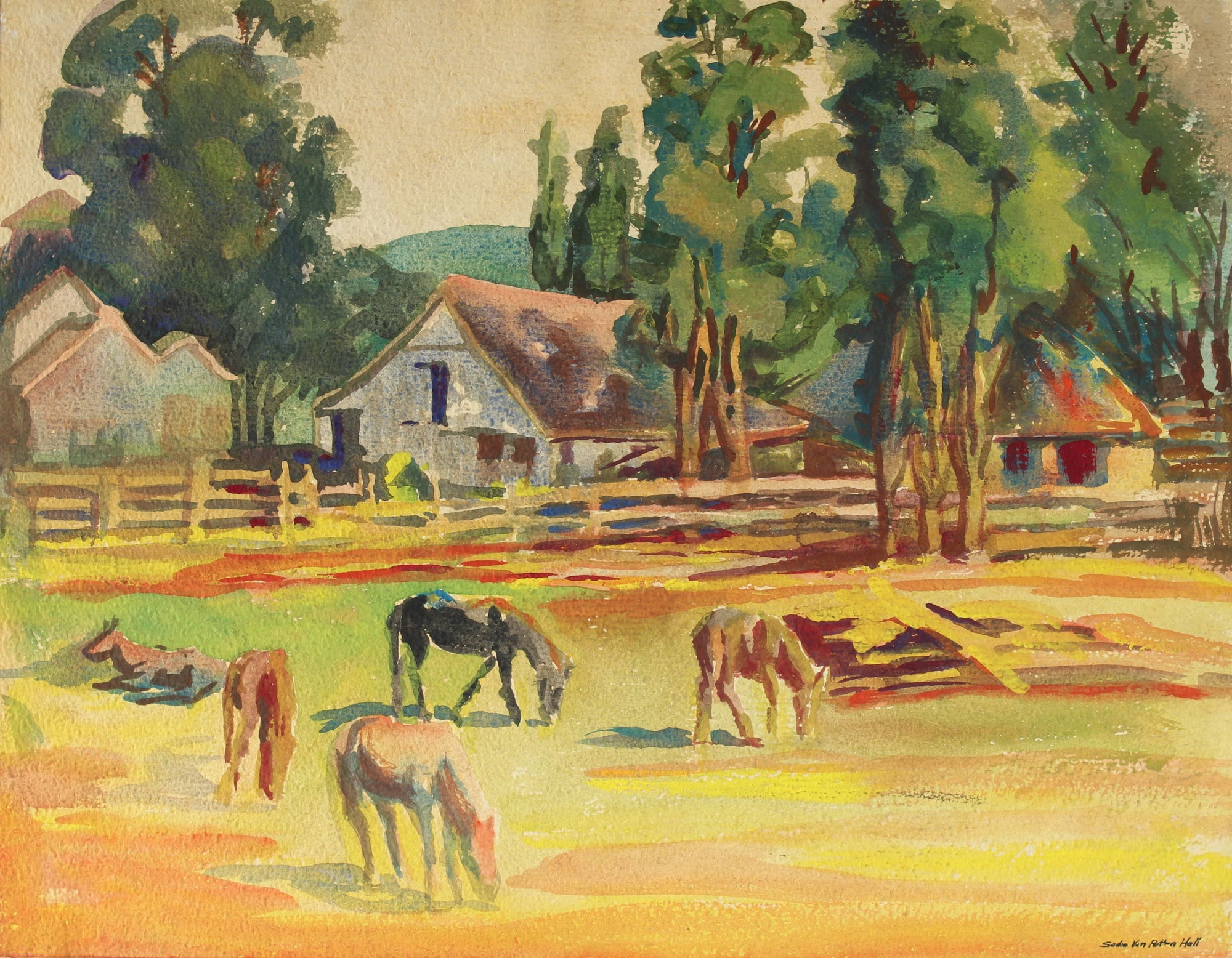 California Farm Scene with Horses<br>Mid Century Watercolor<br><br>#88028