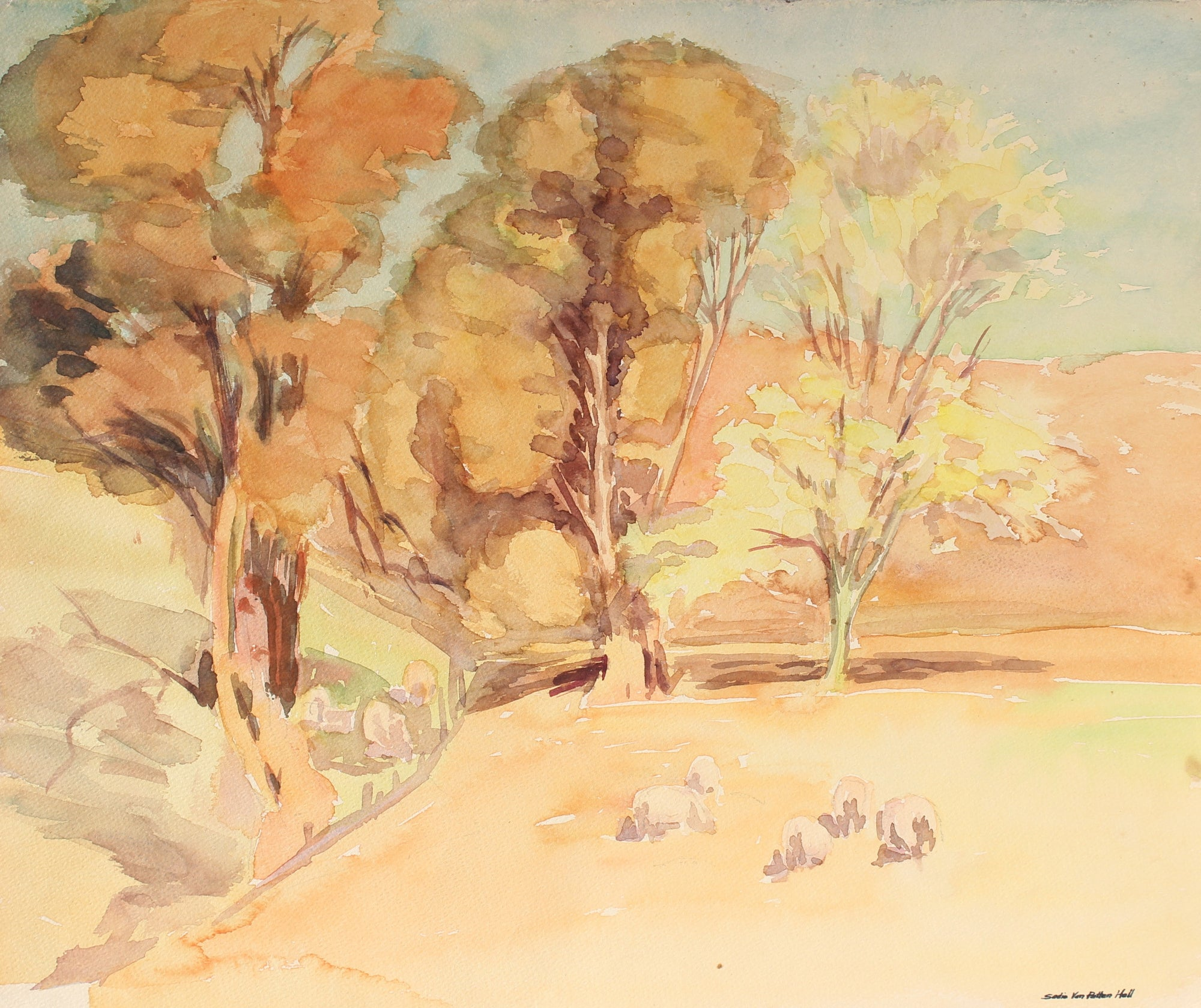 Watercolor Landscape with Sheep<br>Mid Century<br><br>#88037