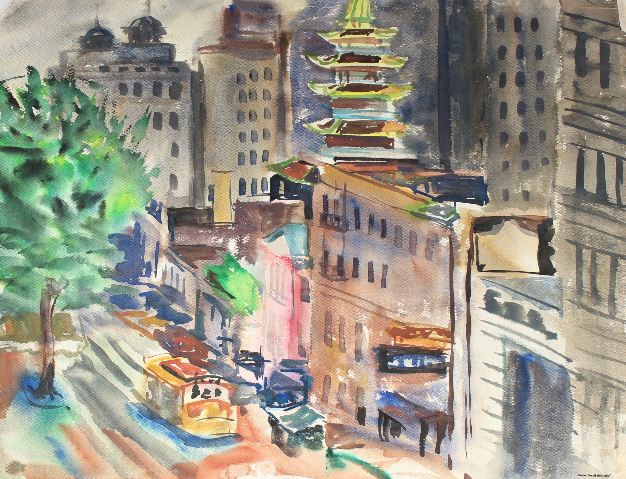 San Francisco Chinatown<br>Mid Century Watercolor<br><br>#88061