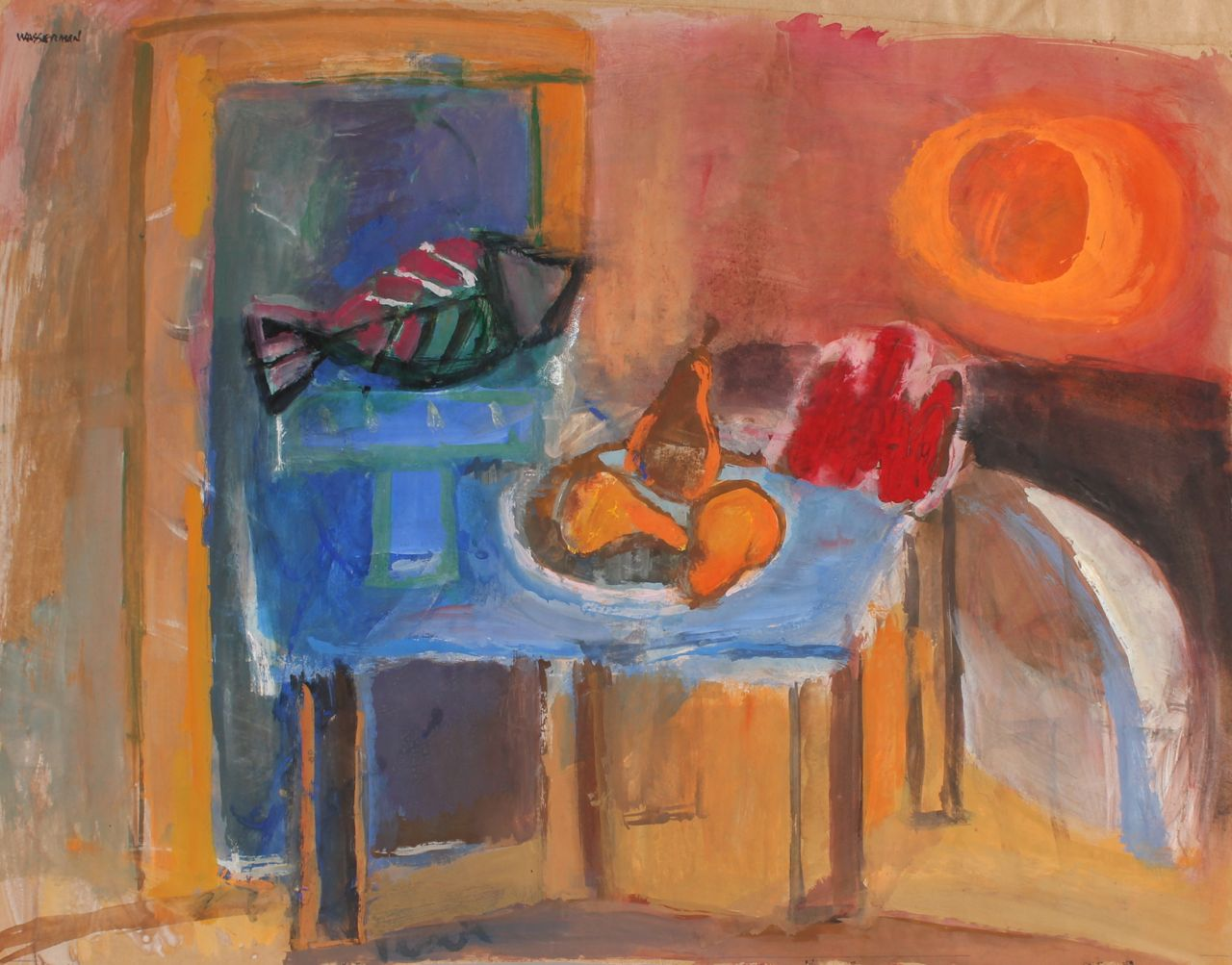 Still Life with Sun & Fish <br>Mid Century Gouache <br><br>#88208