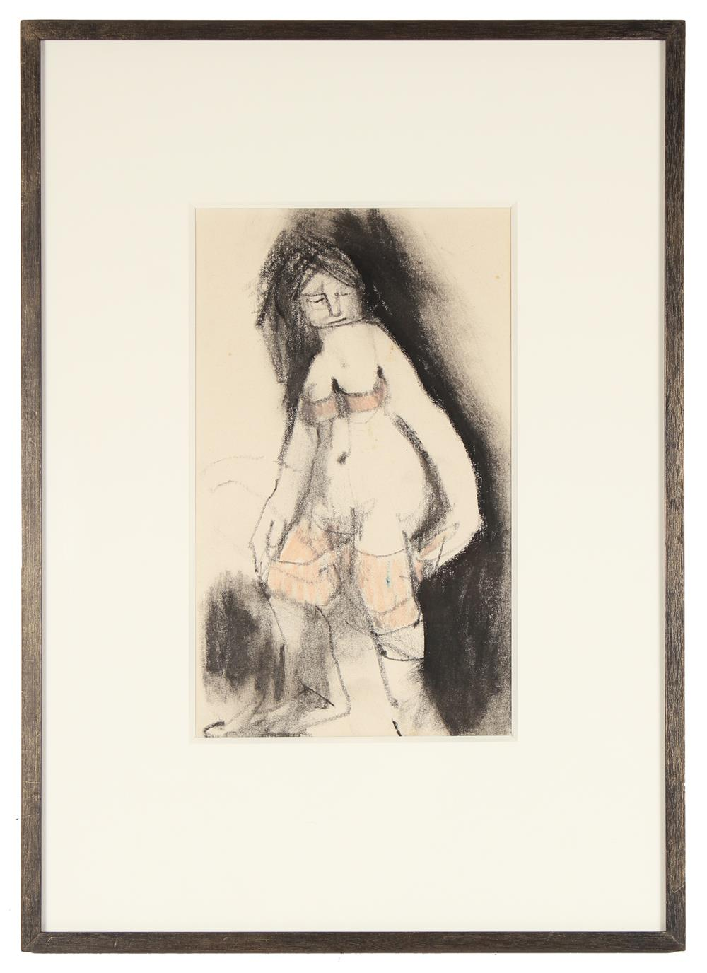 Standing Nude Abstraction<br>Mid Century Charcoal & Pastel<br><br>#88343
