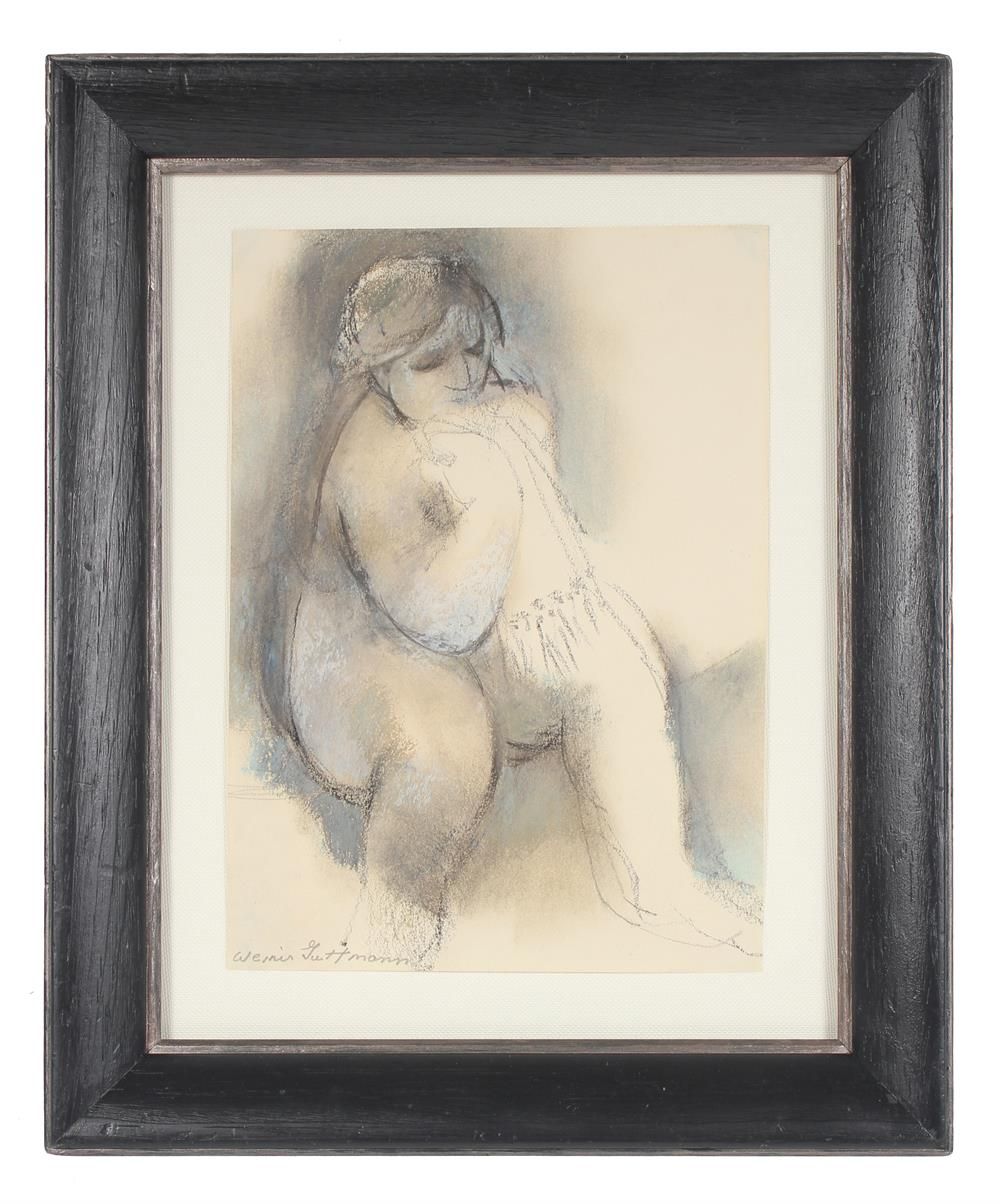 Thoughtful Seated Nude<br>Mid Century Mixed Media<br><br>#88346