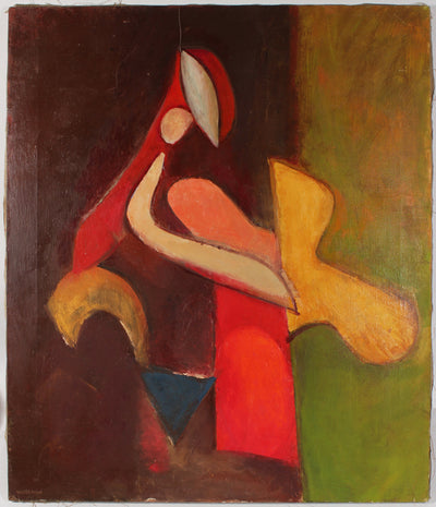 Colorful Cubist Figure Abstract<br>Mid Century Oil<br><br>#88360