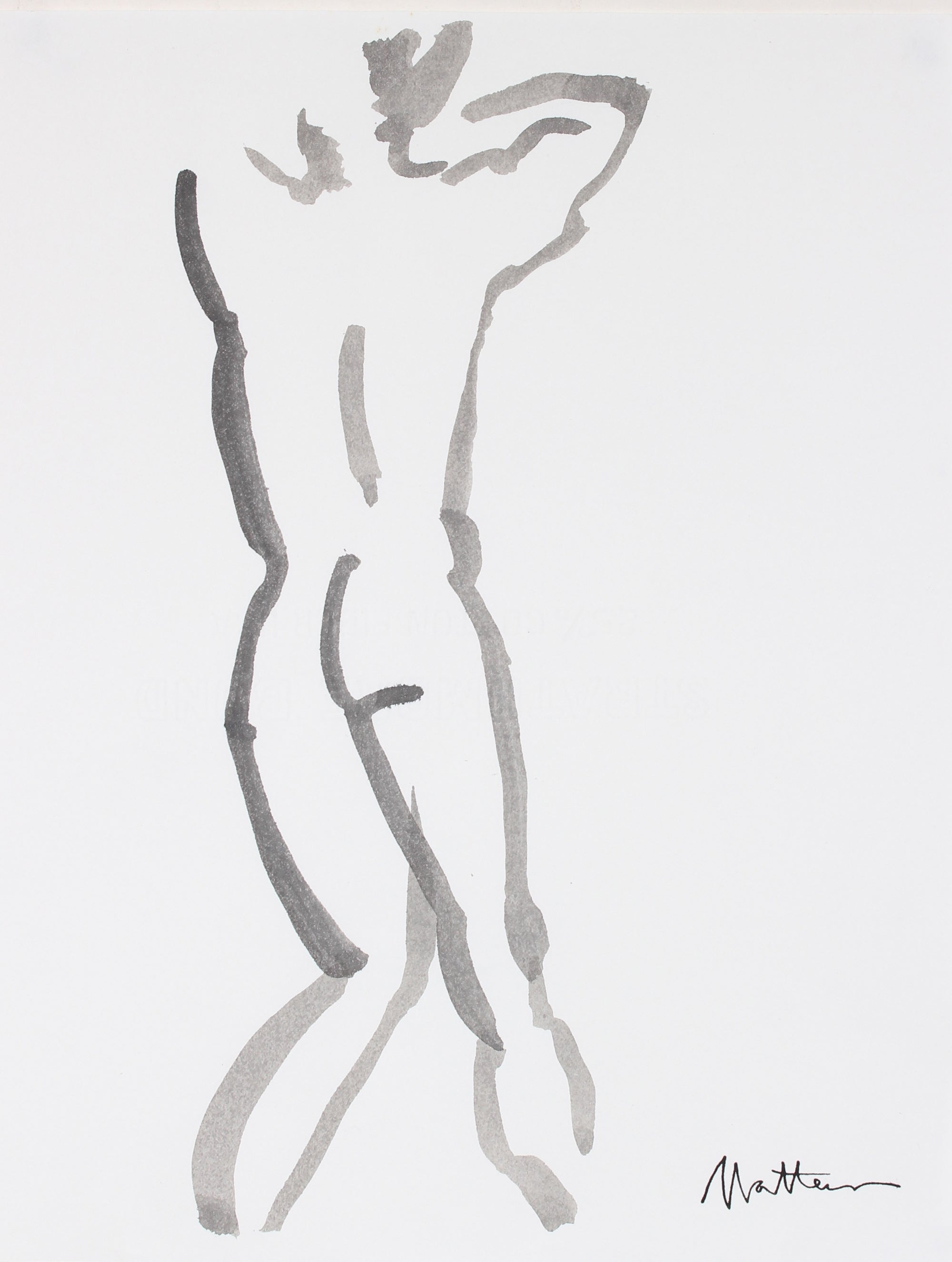 Study Of A Nude From Behind <br>20th Century Ink <br><br>#88676