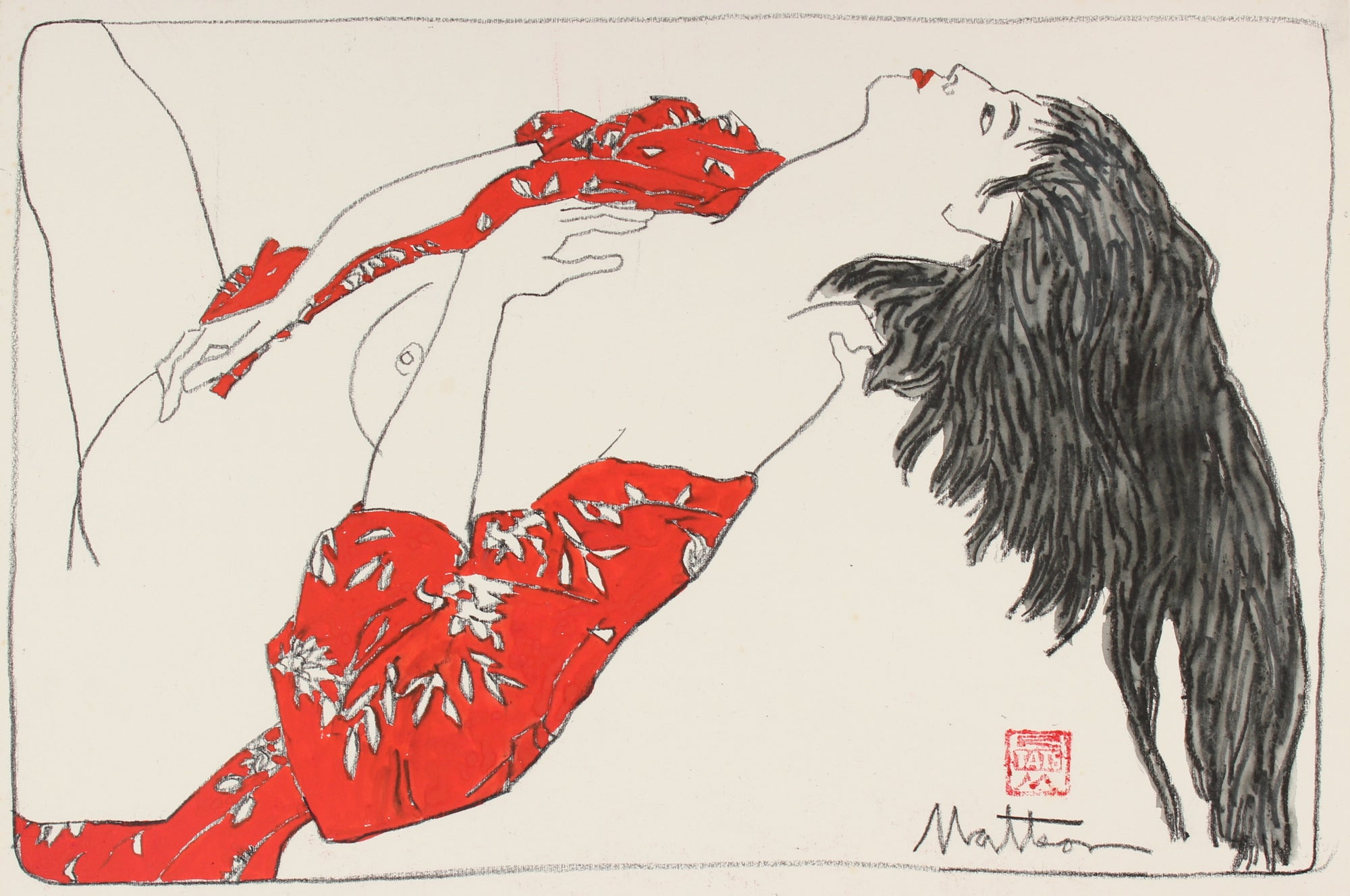 Nude Model in Red Japanese Robe<br>20th Century Gouache and Charcoal <br><br>#88716
