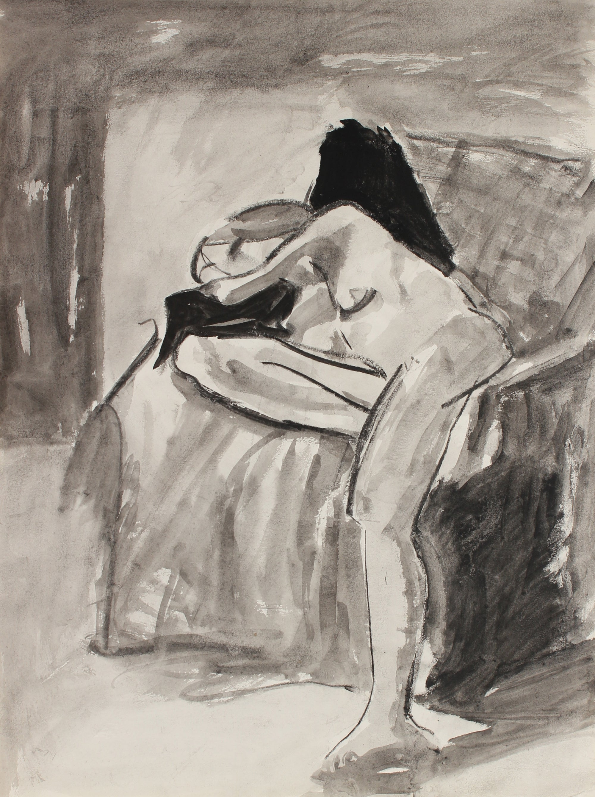 Modernist Seated Female Nude Model <br>1971 Charcoal and Ink <br><br>#88918