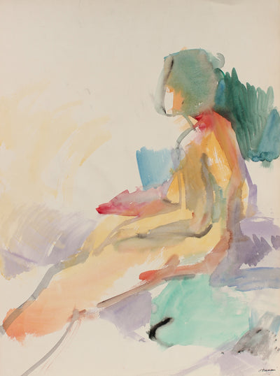 Abstracted Seated Nude in Profile <br>1960s Watercolor <br><br>#88971