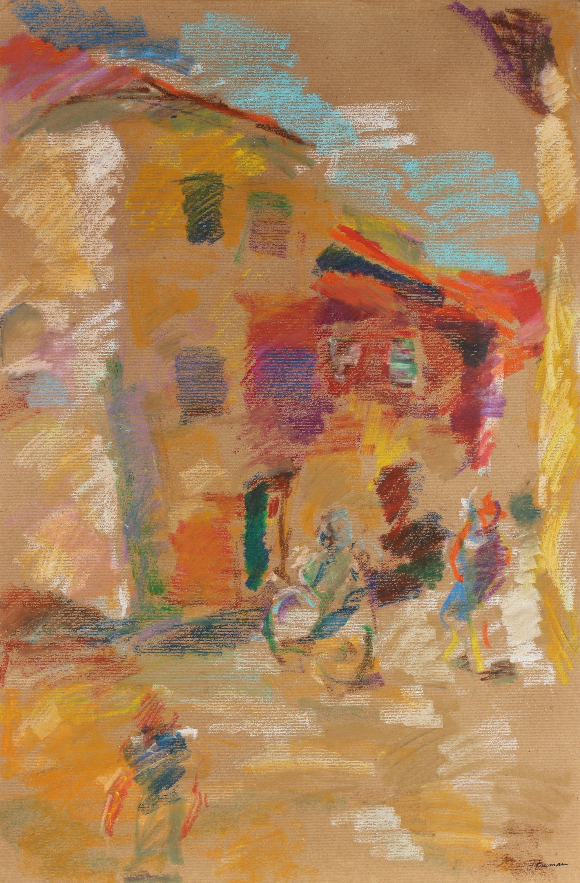 Colorful Abstracted Street Scene <br>20th Century Pastel <br><br>#88980