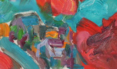 Vivid Abstract Expressionist Hillside<br>20th Century Oil<br><br>#89166