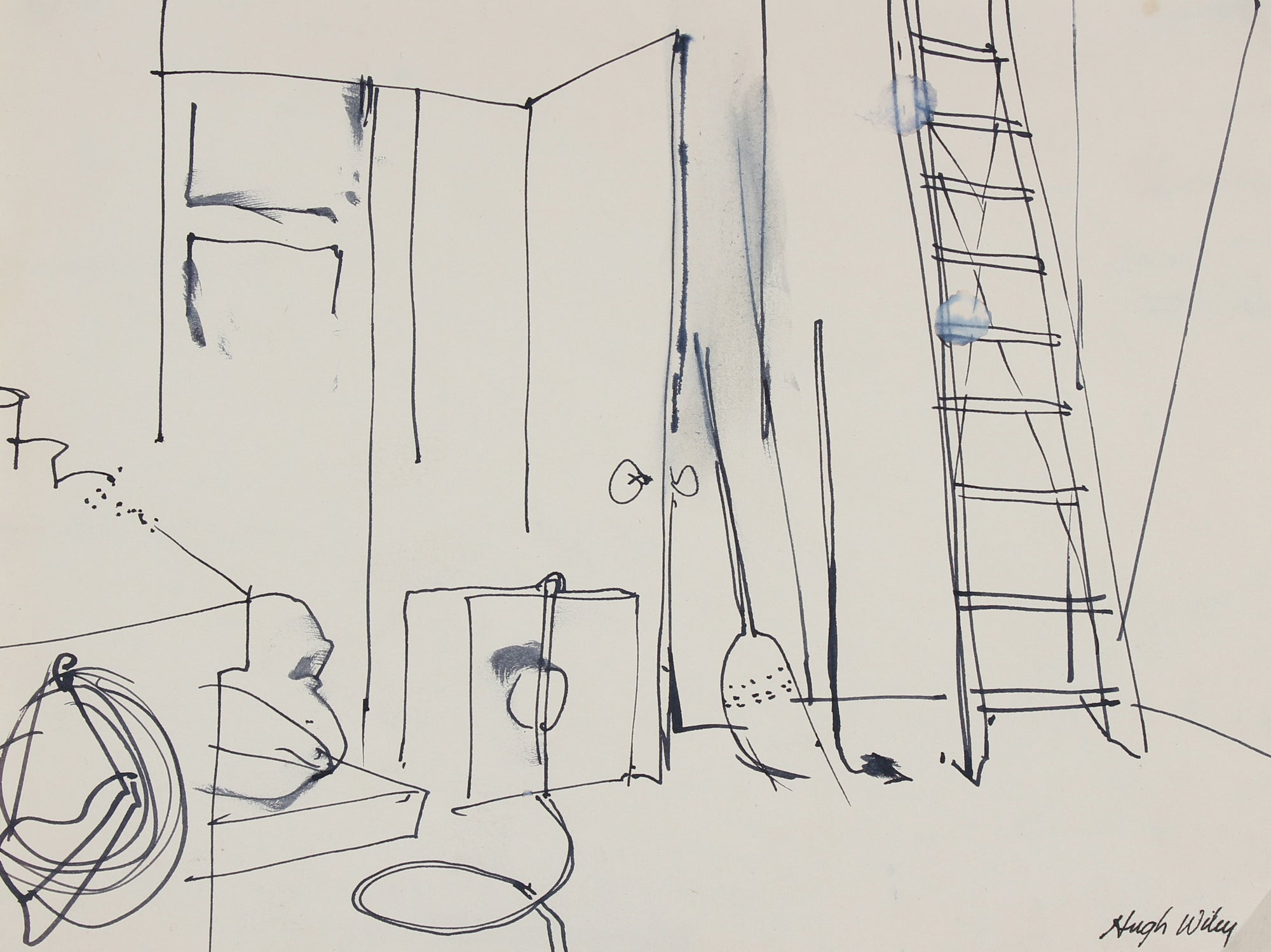 Sketch of a Garage <br>1966 Ink <br><br>#89339