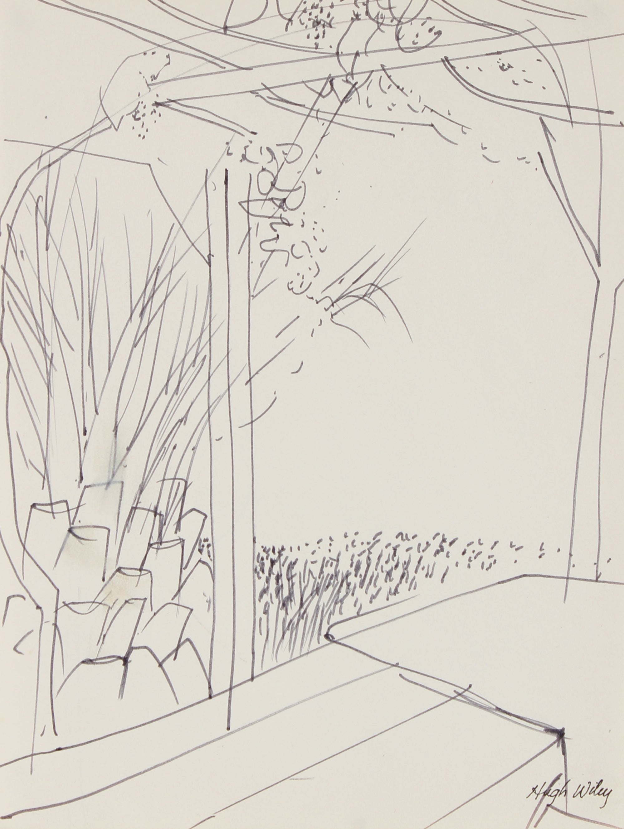 Monochromatic Backyard Landscape Scene<br>1966 Ink <br><br>#89346