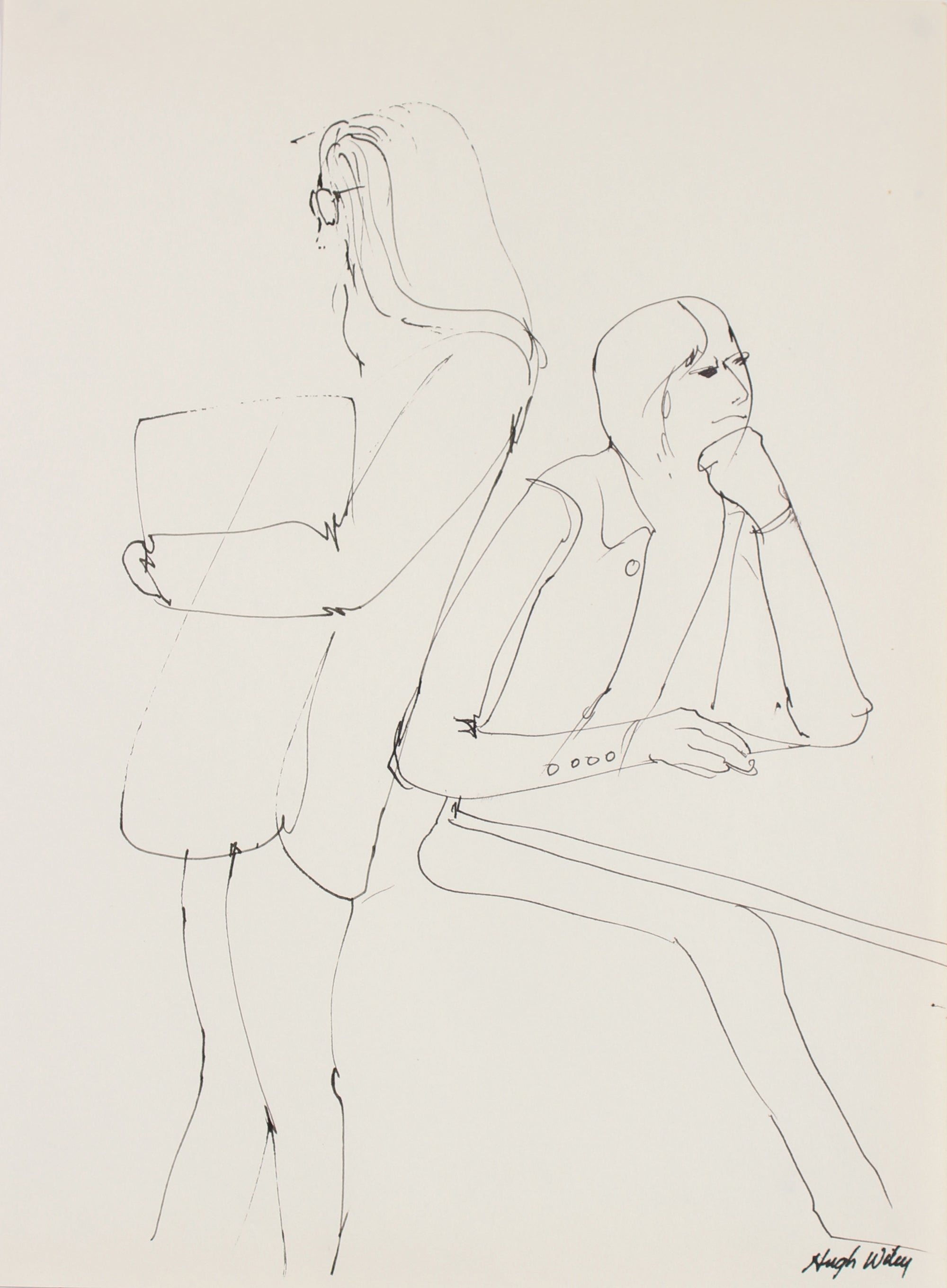 Figure Scene Drawing <br> 1974 Ink <br><br>#89401