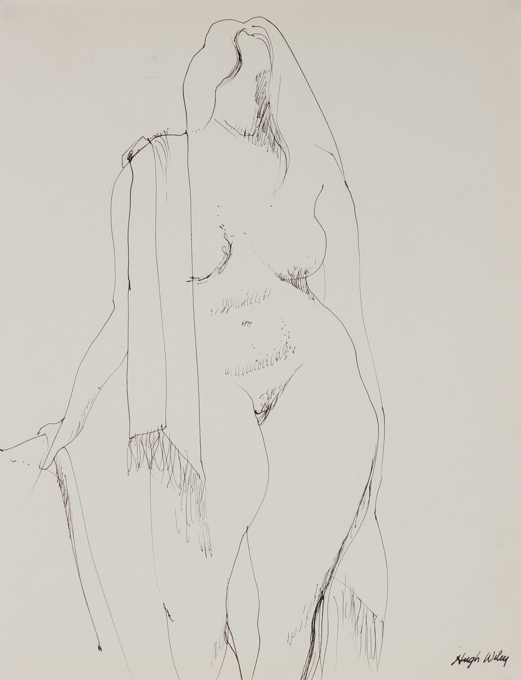 Woman with a Scarf <br>1974 Ink <br><br>#89428