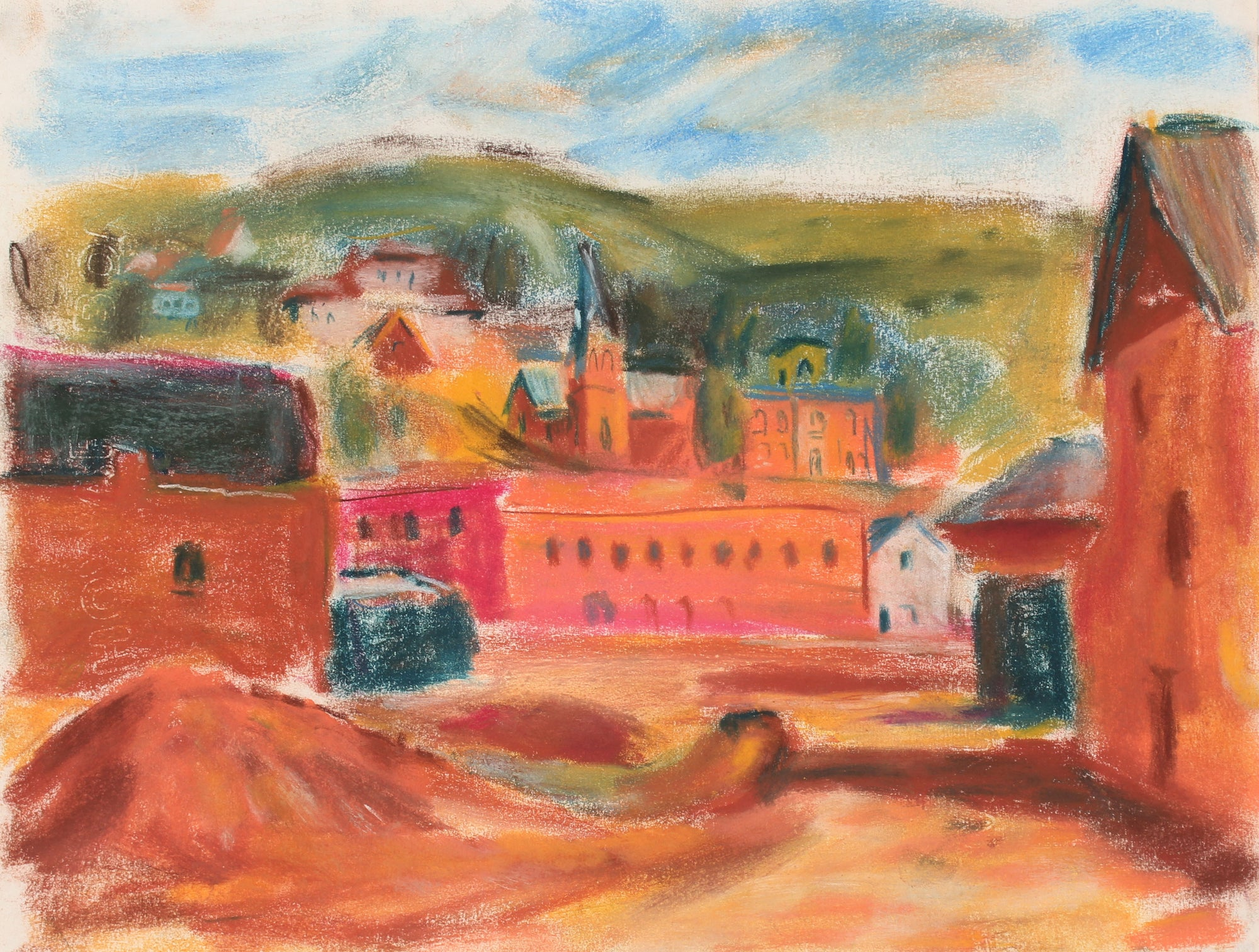 Abstracted European Village Scene <br>Mid-Late 20th Century Pastel Painting <br><br>#89506