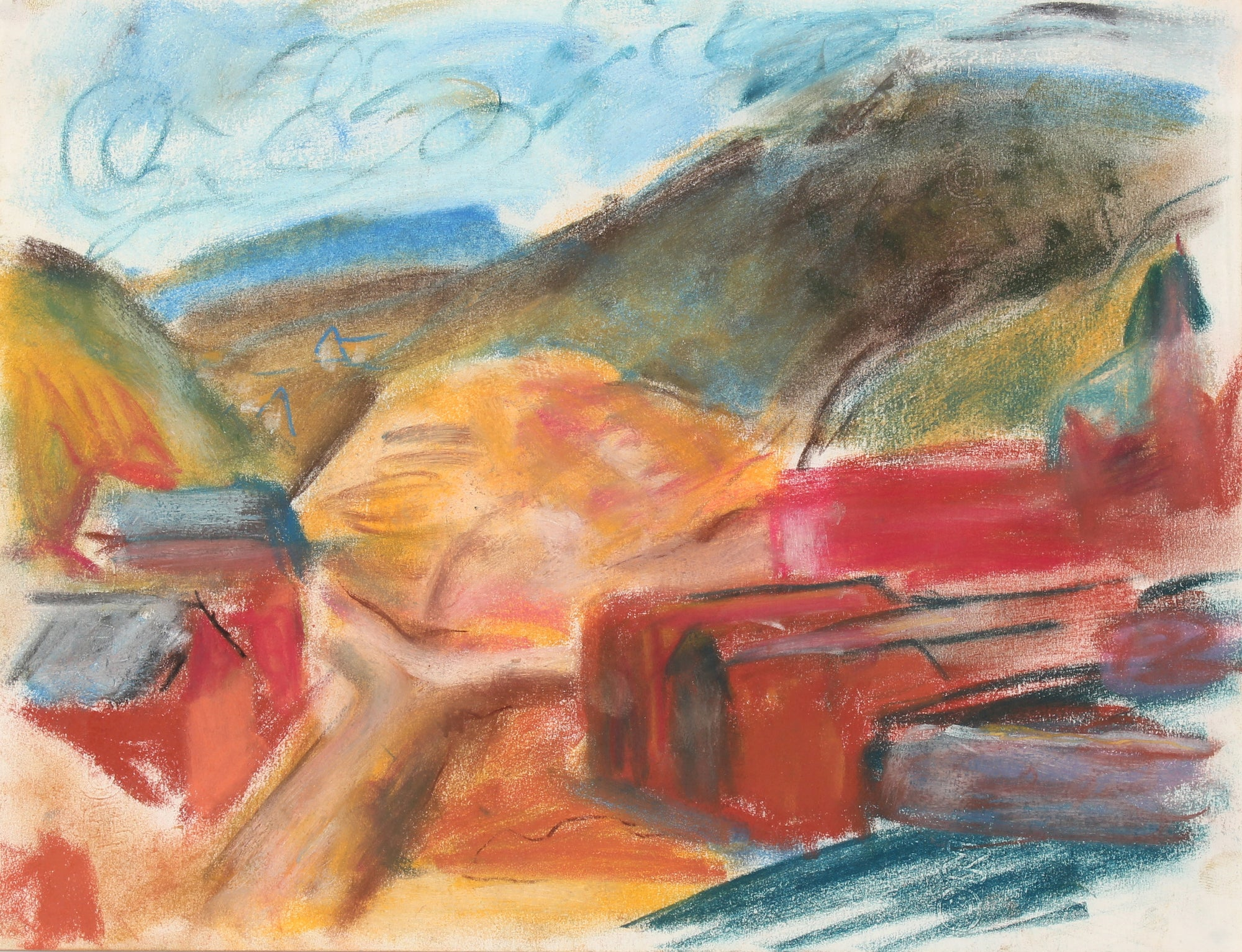Abstracted Mountain Landscape <br>Mid-Late 20th Century Pastel Painting <br><br>#89508