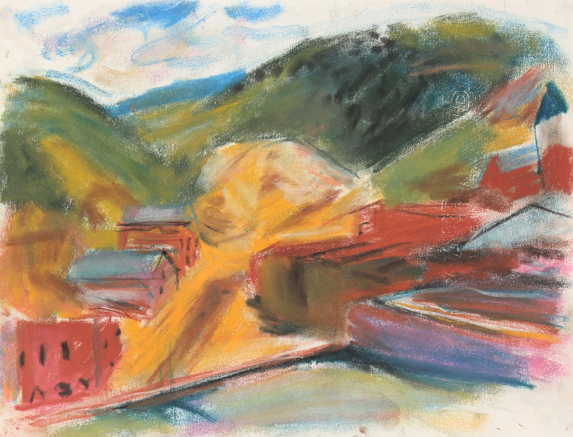 Abstracted Mountain Landscape <br>Mid-Late 20th Century Pastel Painting <br><br>#89509