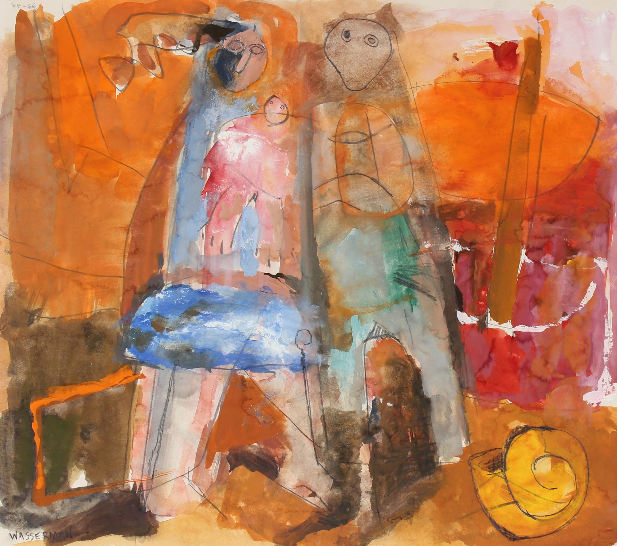 Warm Abstract Figurative Scene <br>20th Century Gouache and Graphite <br><br>#89527